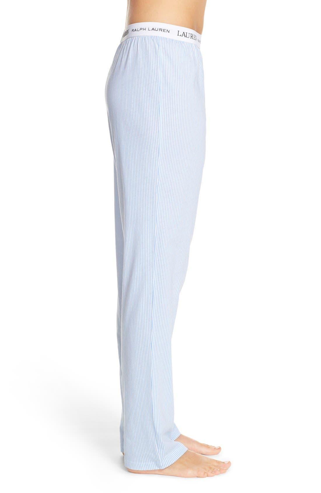 LAUREN RALPH LAUREN, Logo Waistband Lounge Pants, Alternate thumbnail 3, color, STRIPE PALE BLUE/ WHITE