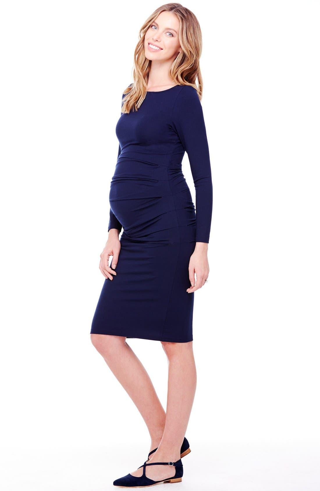 INGRID & ISABEL<SUP>®</SUP>, Shirred Maternity Dress, Alternate thumbnail 2, color, TRUE NAVY