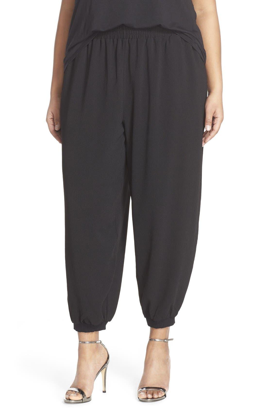 MELISSA MCCARTHY SEVEN7 Zip Pocket Harem Pants, Main, color, 001