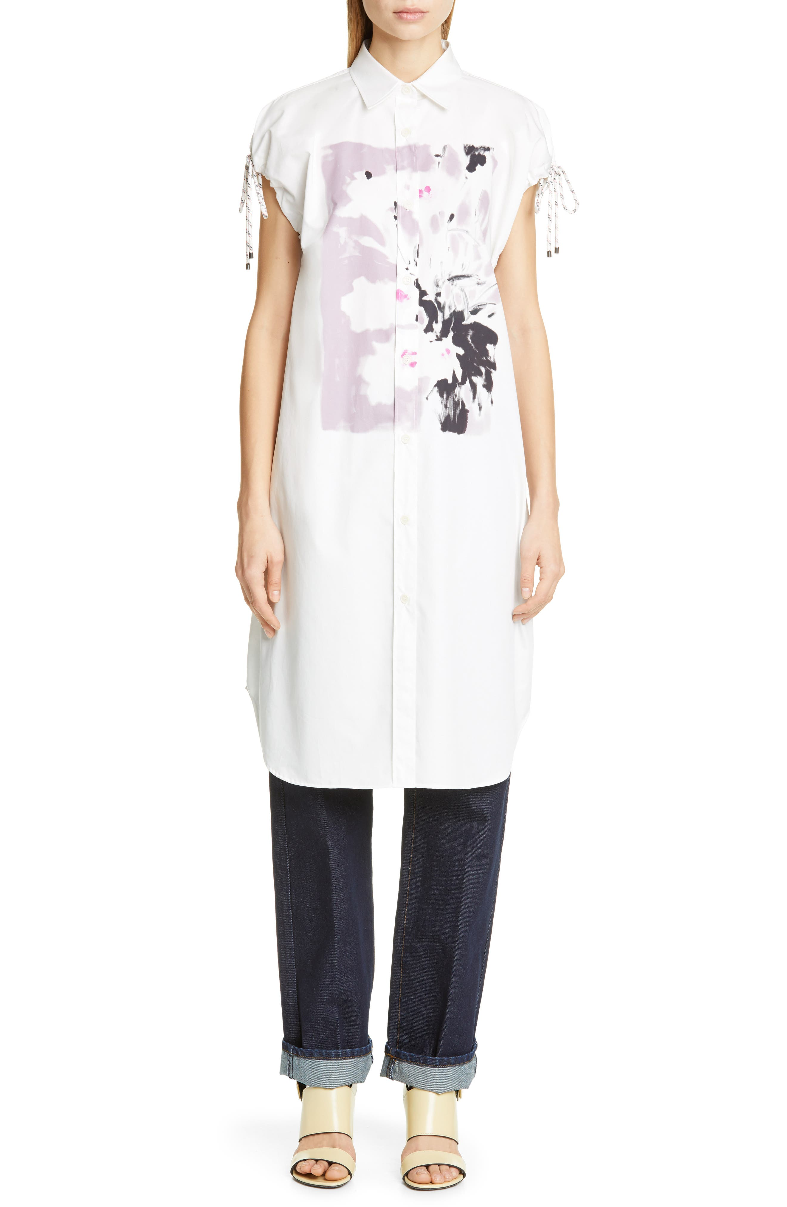DRIES VAN NOTEN, Dantia Floral Print Cotton Shirt, Alternate thumbnail 7, color, LILAC