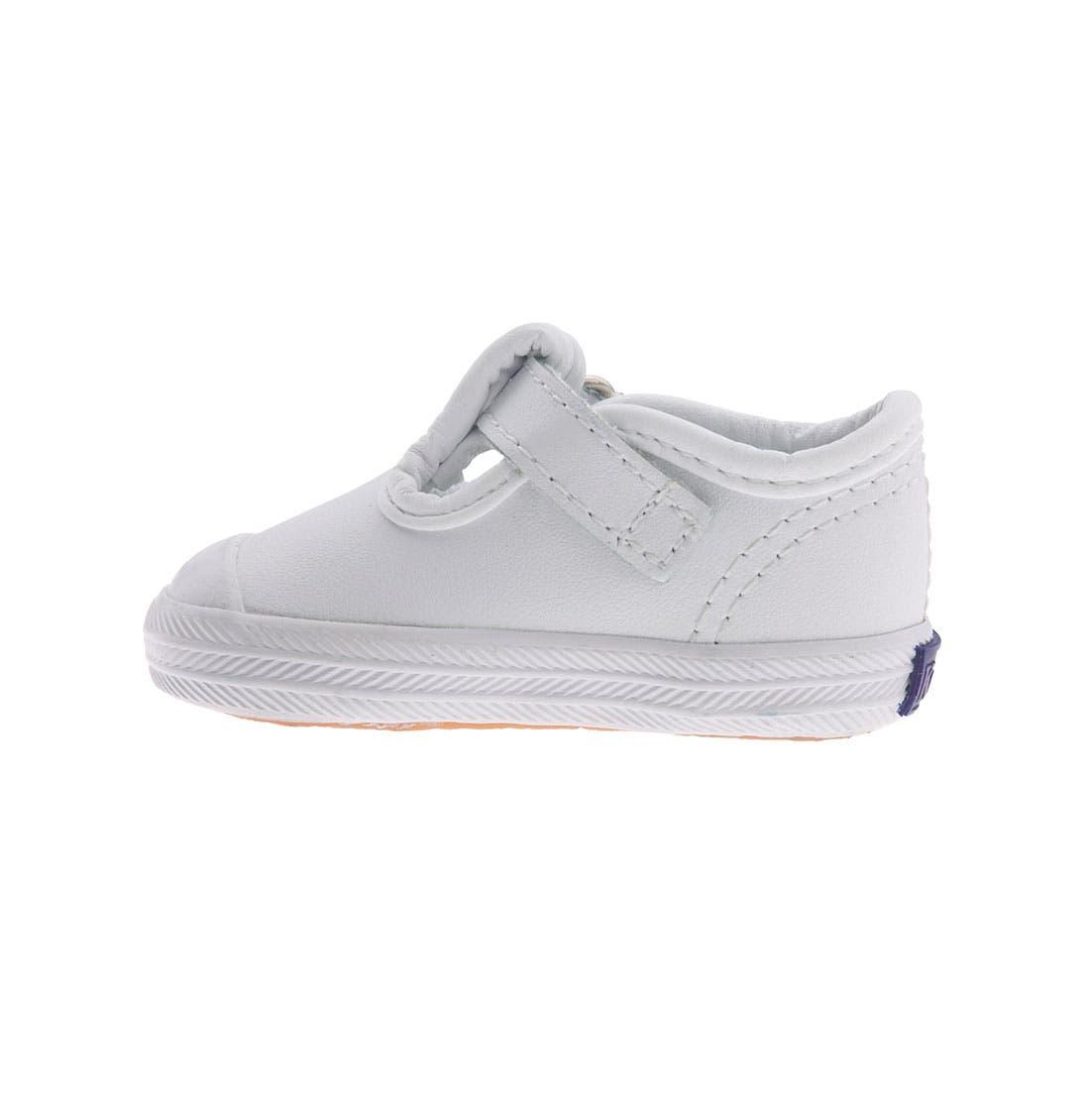 KEDS<SUP>®</SUP>, 'Champion' T-Strap Shoe, Alternate thumbnail 7, color, WHITE LEATHER