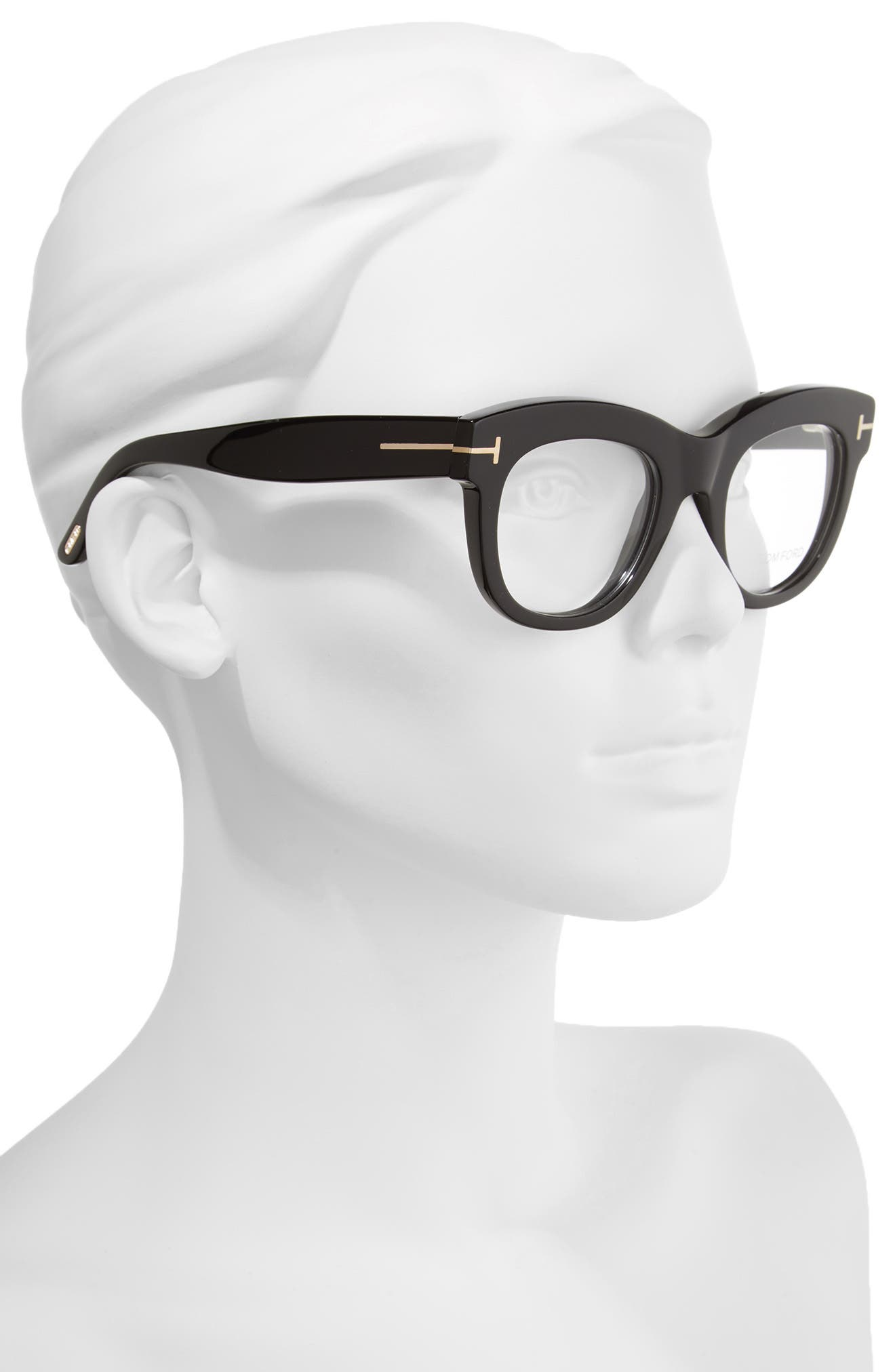 TOM FORD, 49mm Optical Glasses, Alternate thumbnail 2, color, SHINY BLACK