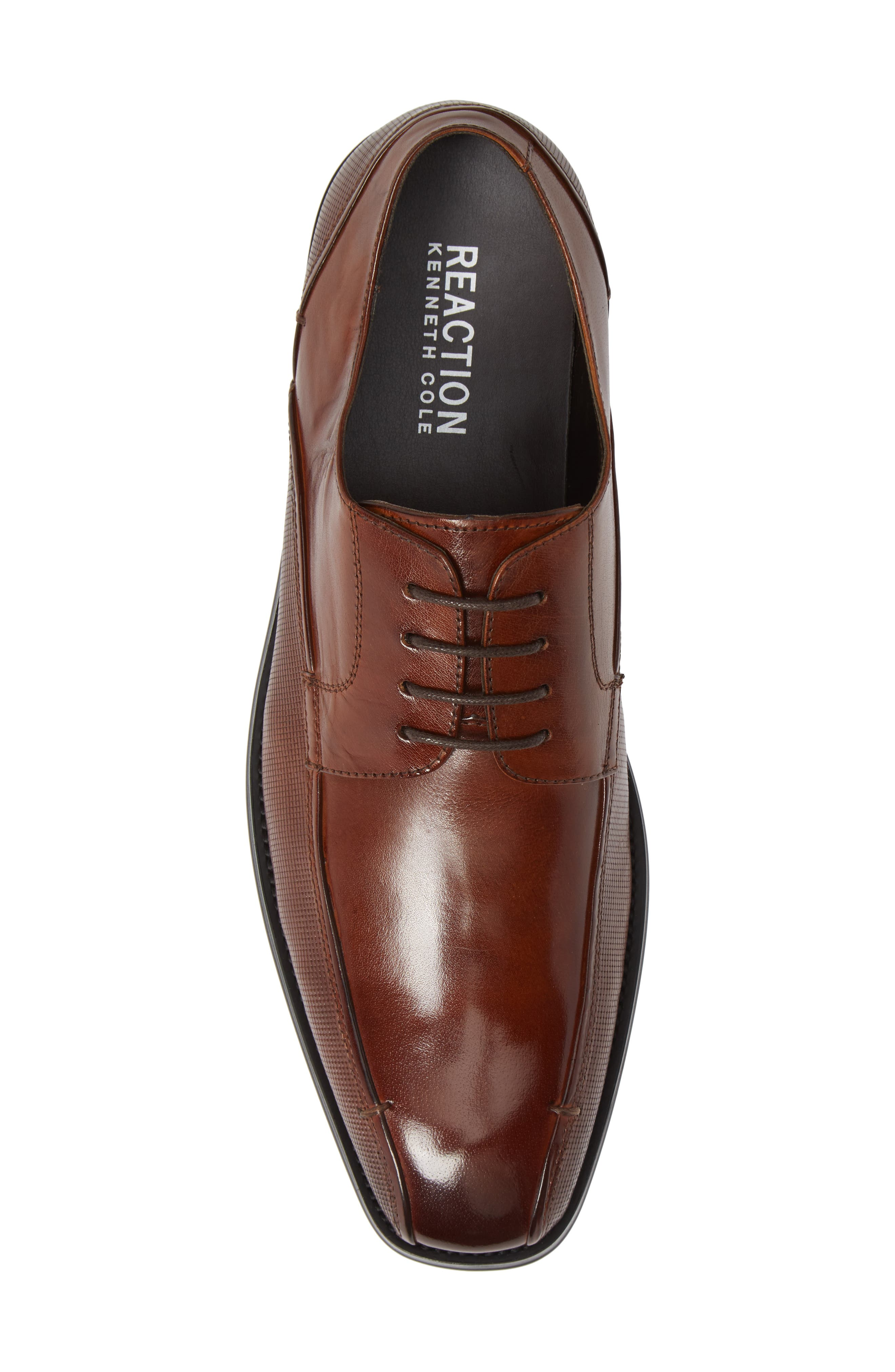 REACTION KENNETH COLE, Witter Textured Bike Toe Derby, Alternate thumbnail 5, color, COGNAC LEATHER