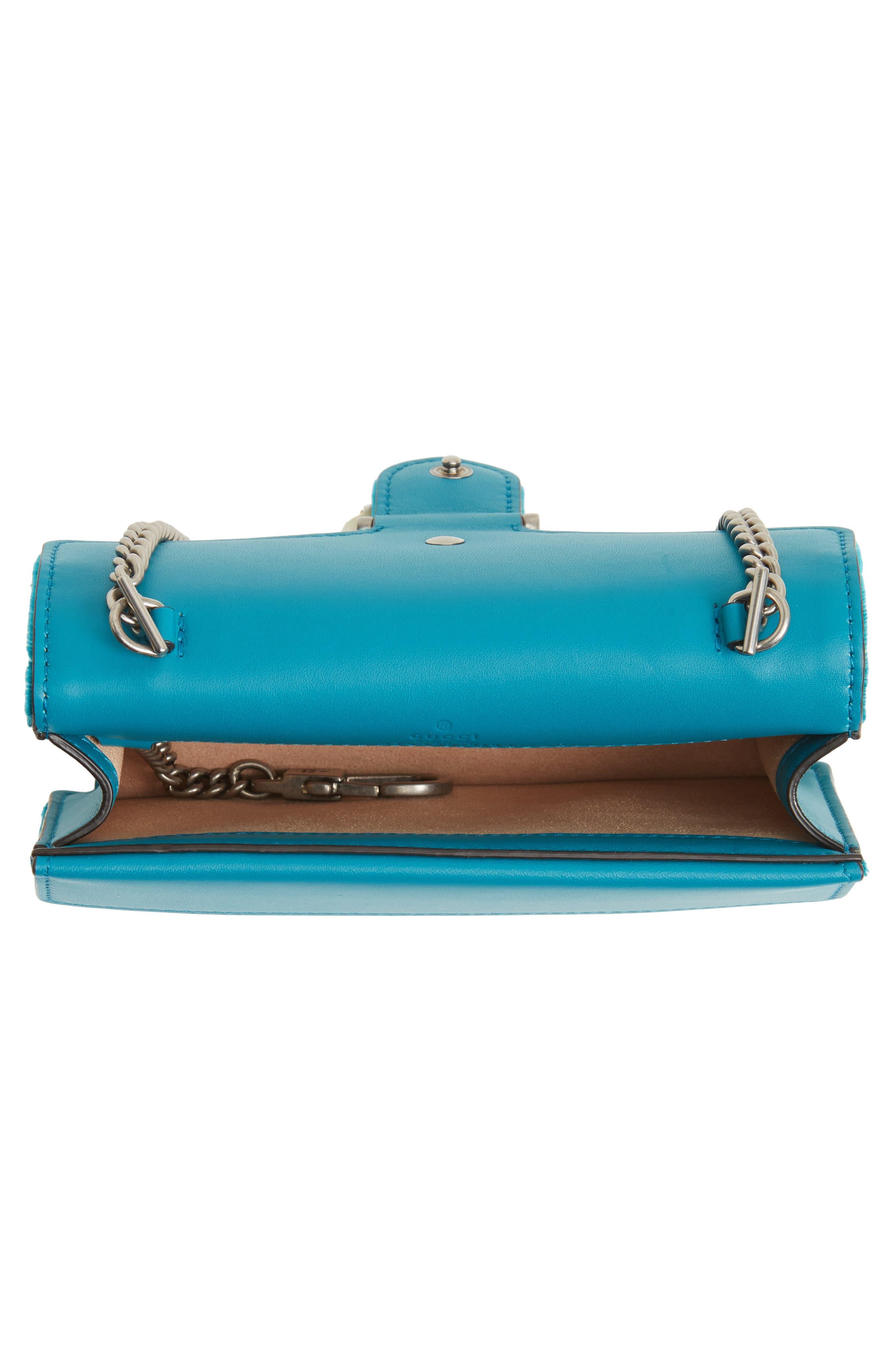 GUCCI, Super Mini Dionysus Velvet Shoulder Bag, Alternate thumbnail 4, color, PIVONE