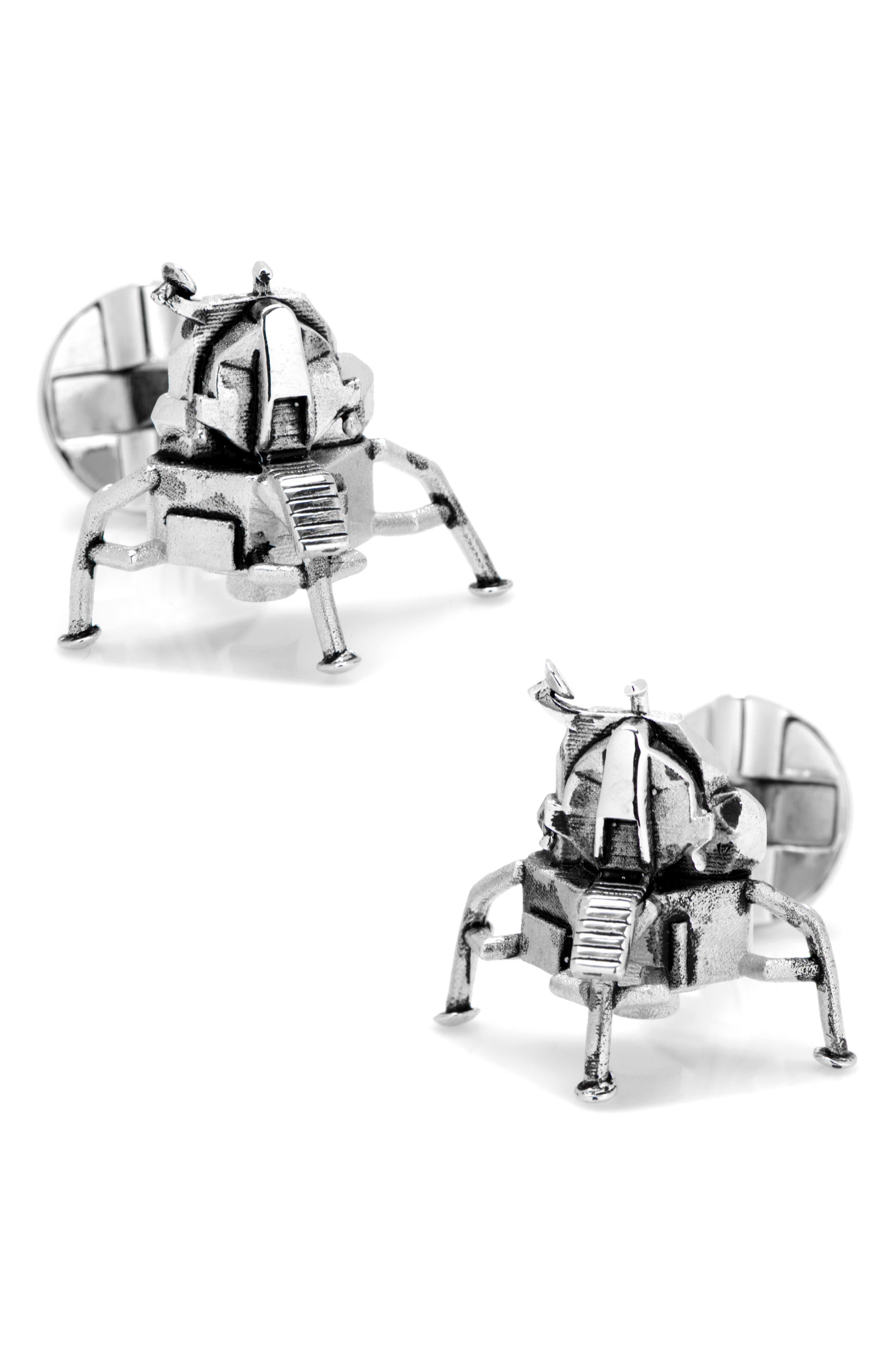 CUFFLINKS, INC., 3D Moon Lander Cuff Links, Main thumbnail 1, color, SILVER