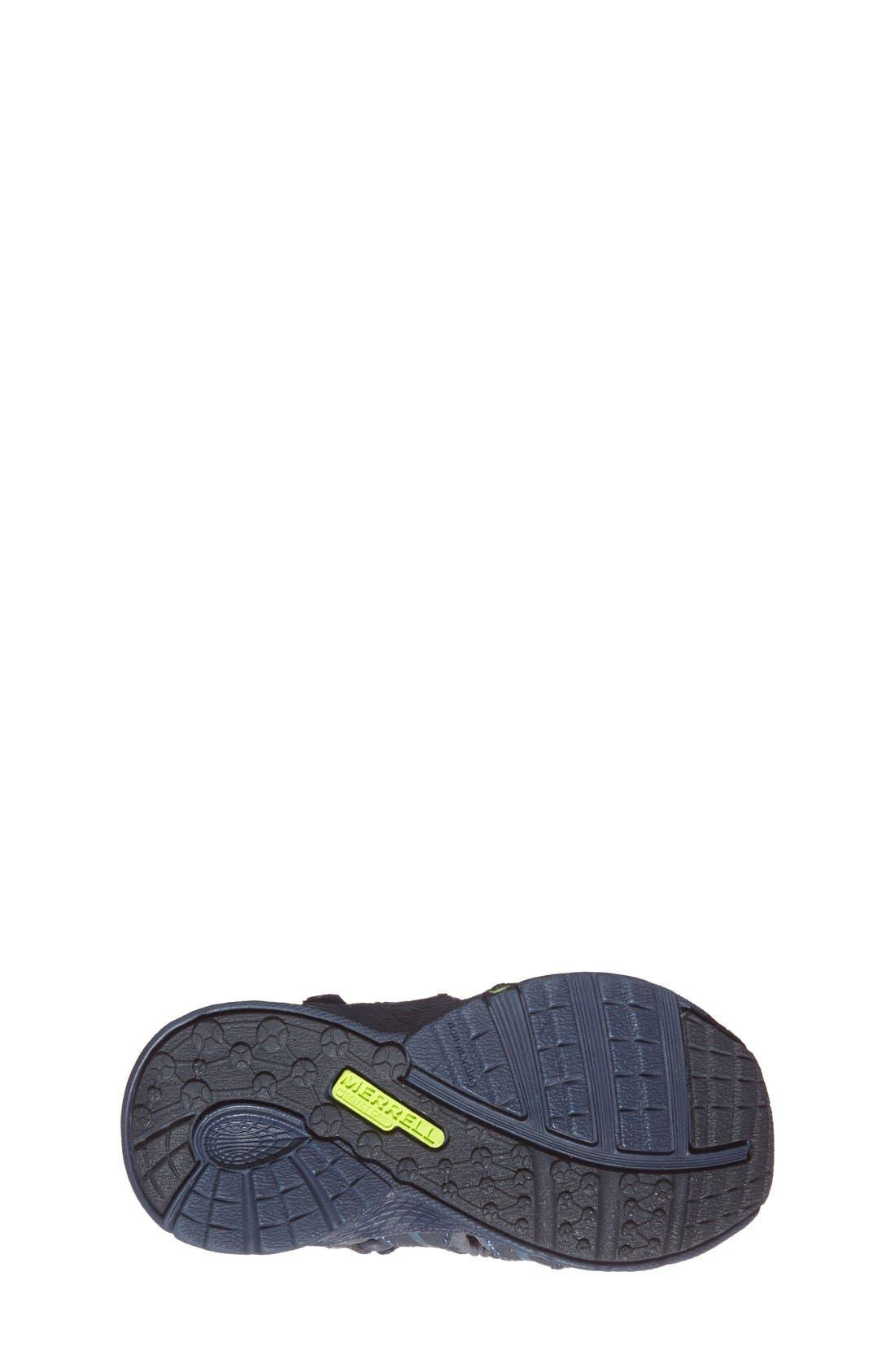 MERRELL, 'Hydro Junior' M-Select Water Sandal, Alternate thumbnail 3, color, NAVY/ GREEN