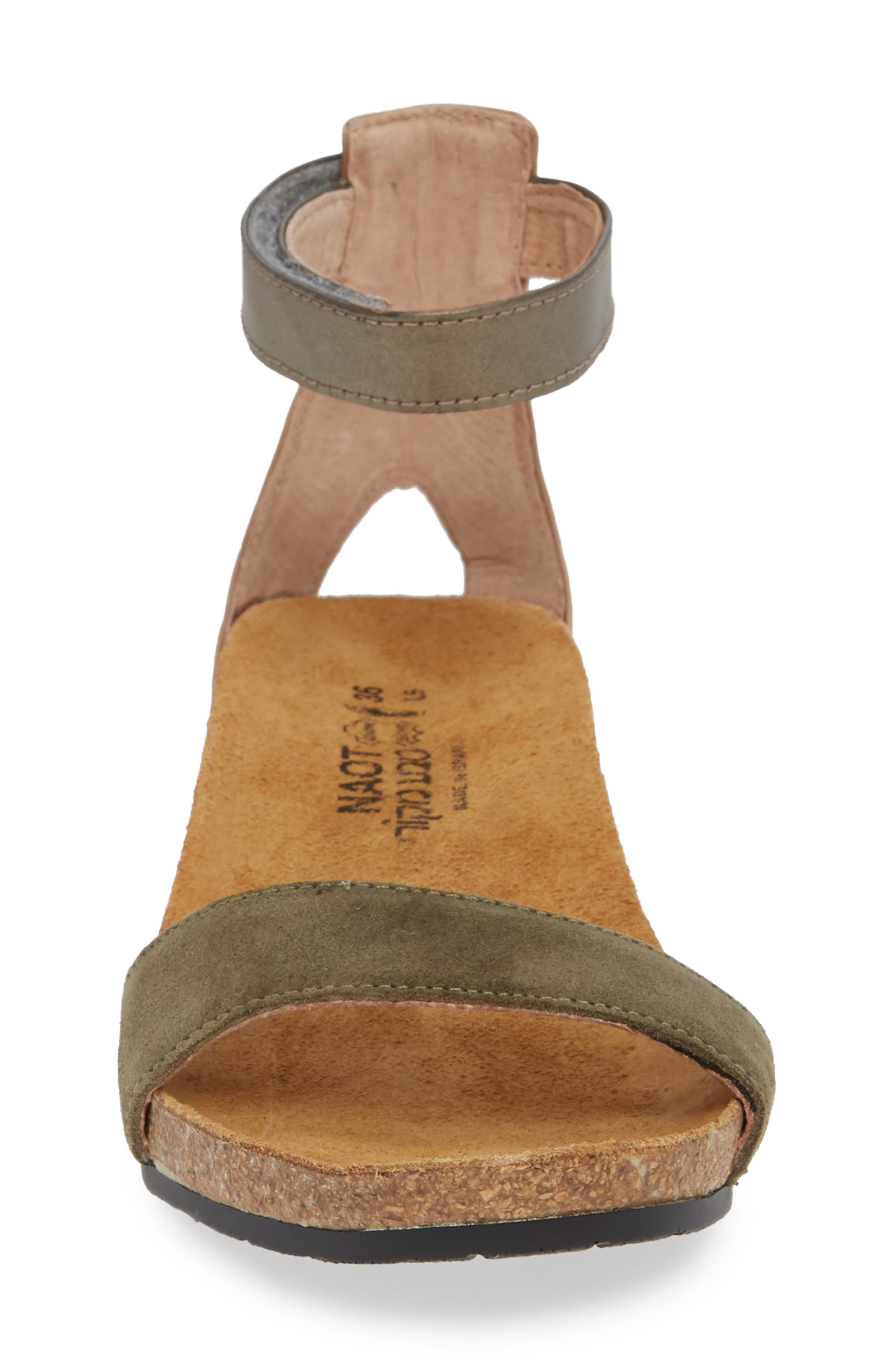 NAOT, 'Pixie' Sandal, Alternate thumbnail 4, color, OLIVE SUEDE/ PEWTER LEATHER