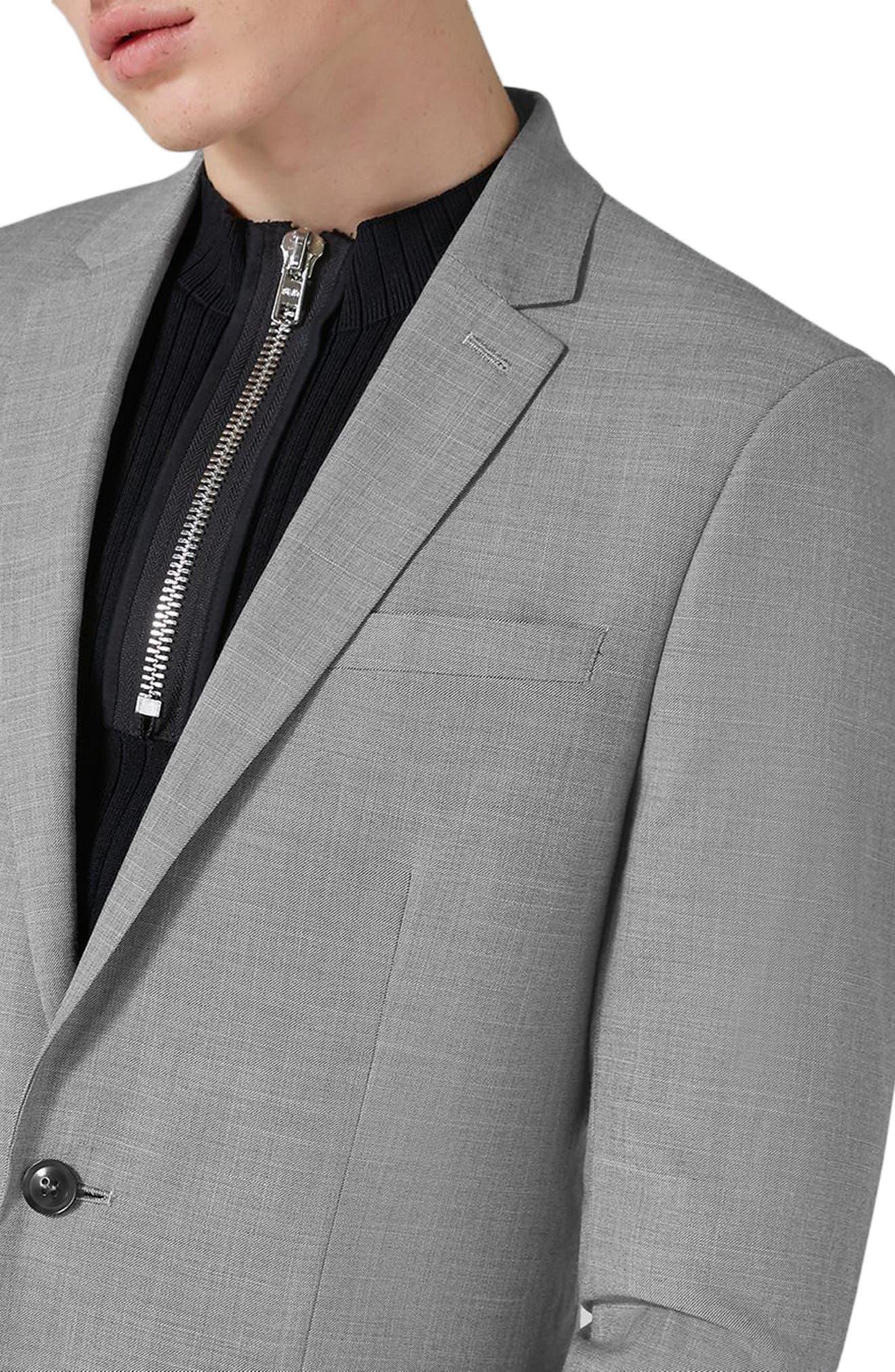 TOPMAN, Skinny Fit Suit Jacket, Alternate thumbnail 4, color, GREY