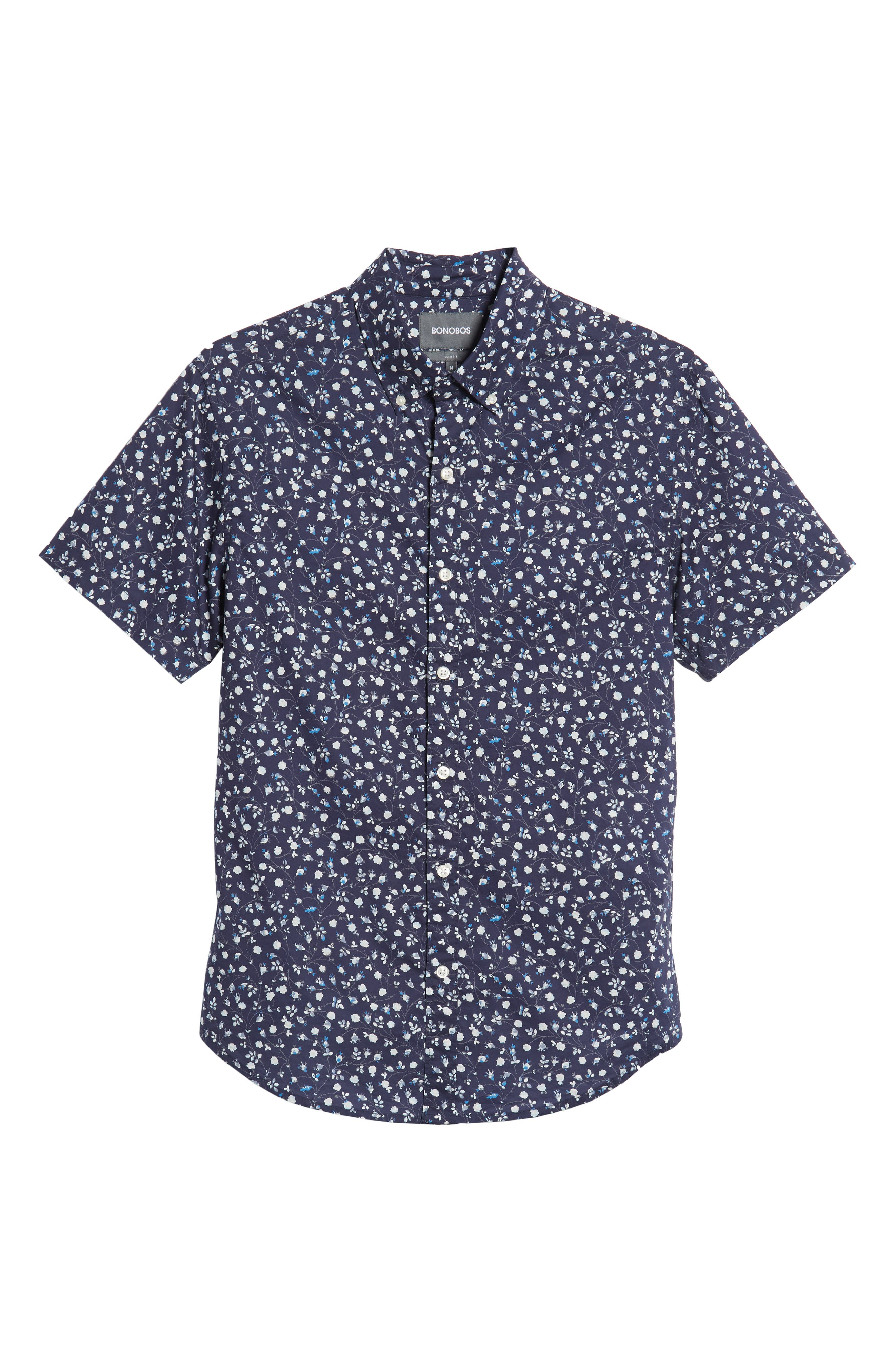 BONOBOS, Riviera Slim Fit Floral Print Sport Shirt, Alternate thumbnail 5, color, BLUE FLORAL