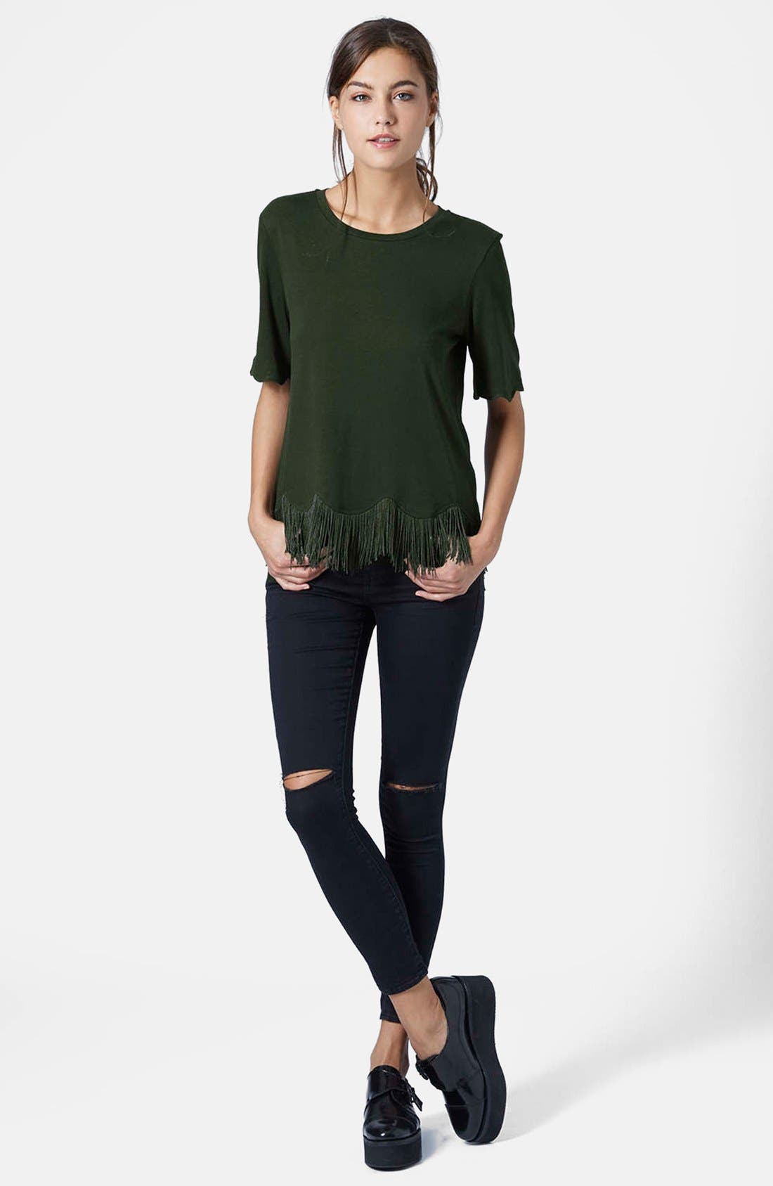 TOPSHOP, Fringe Scallop Tee, Alternate thumbnail 3, color, 301