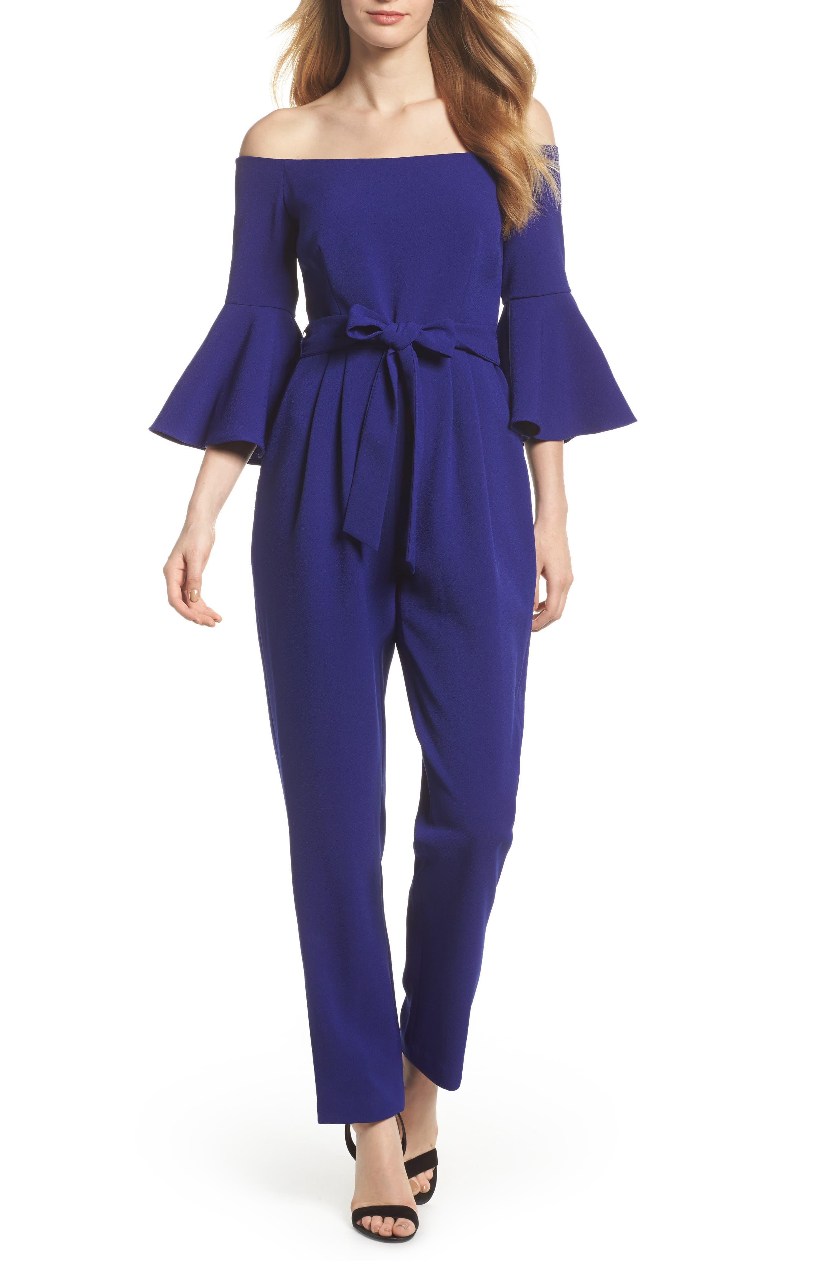ELIZA J, Off the Shoulder Bell Sleeve Slim Leg Jumpsuit, Main thumbnail 1, color, COBALT