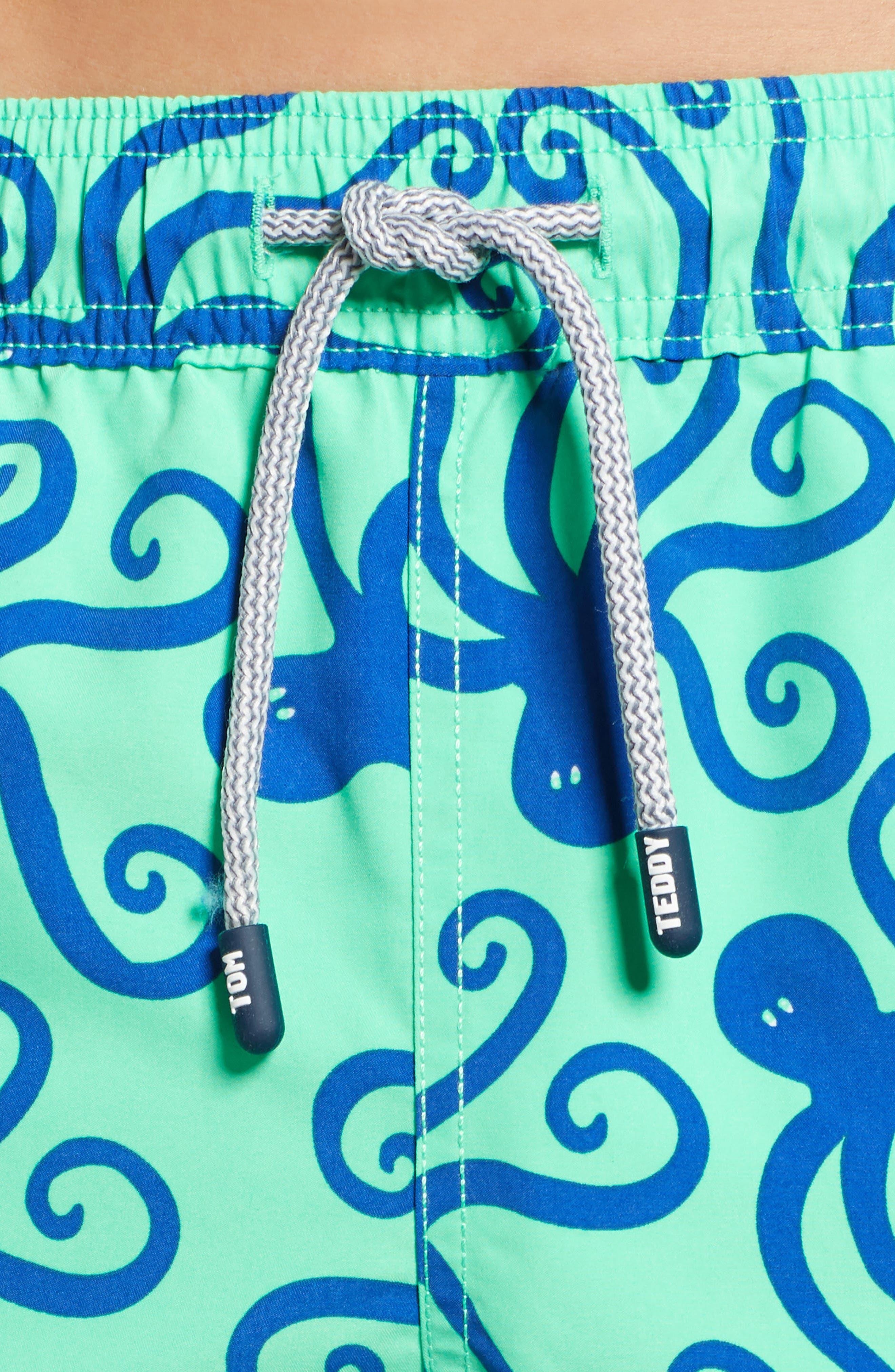 TOM & TEDDY, 'Octopus Pattern' Swim Trunks, Alternate thumbnail 4, color, GREEN/ BLUE