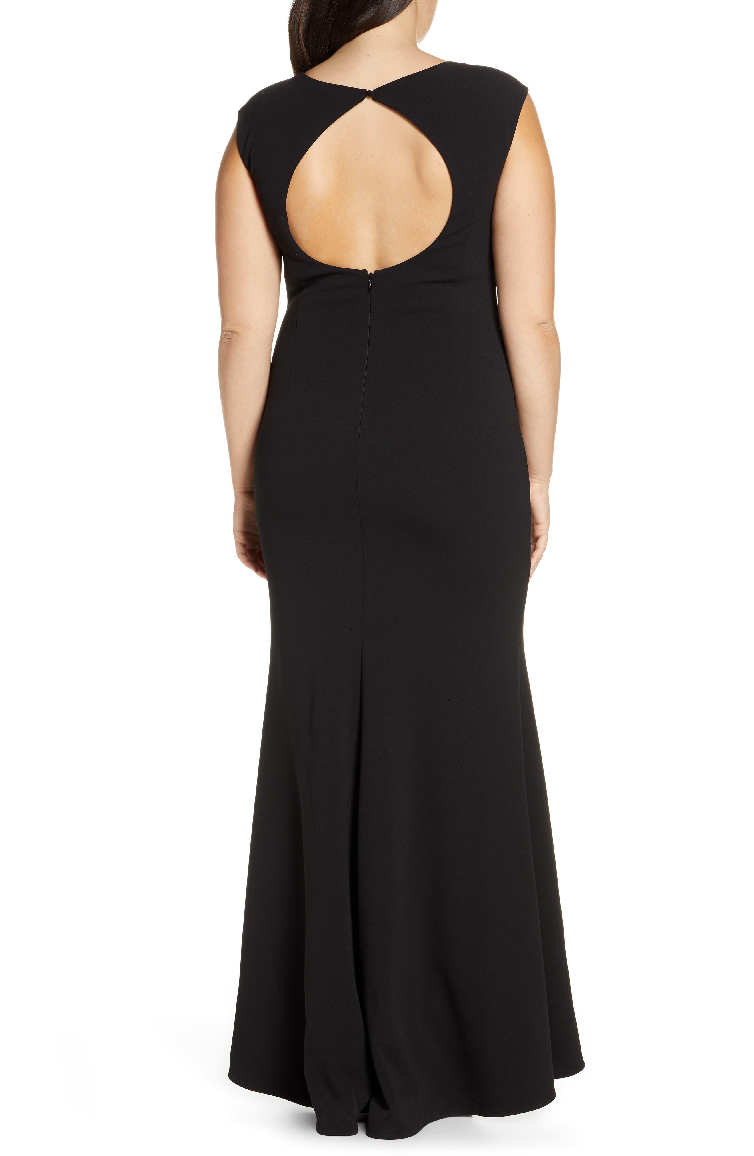 ELIZA J, Square Neck Scuba Crepe Evening Dress, Alternate thumbnail 9, color, BLACK