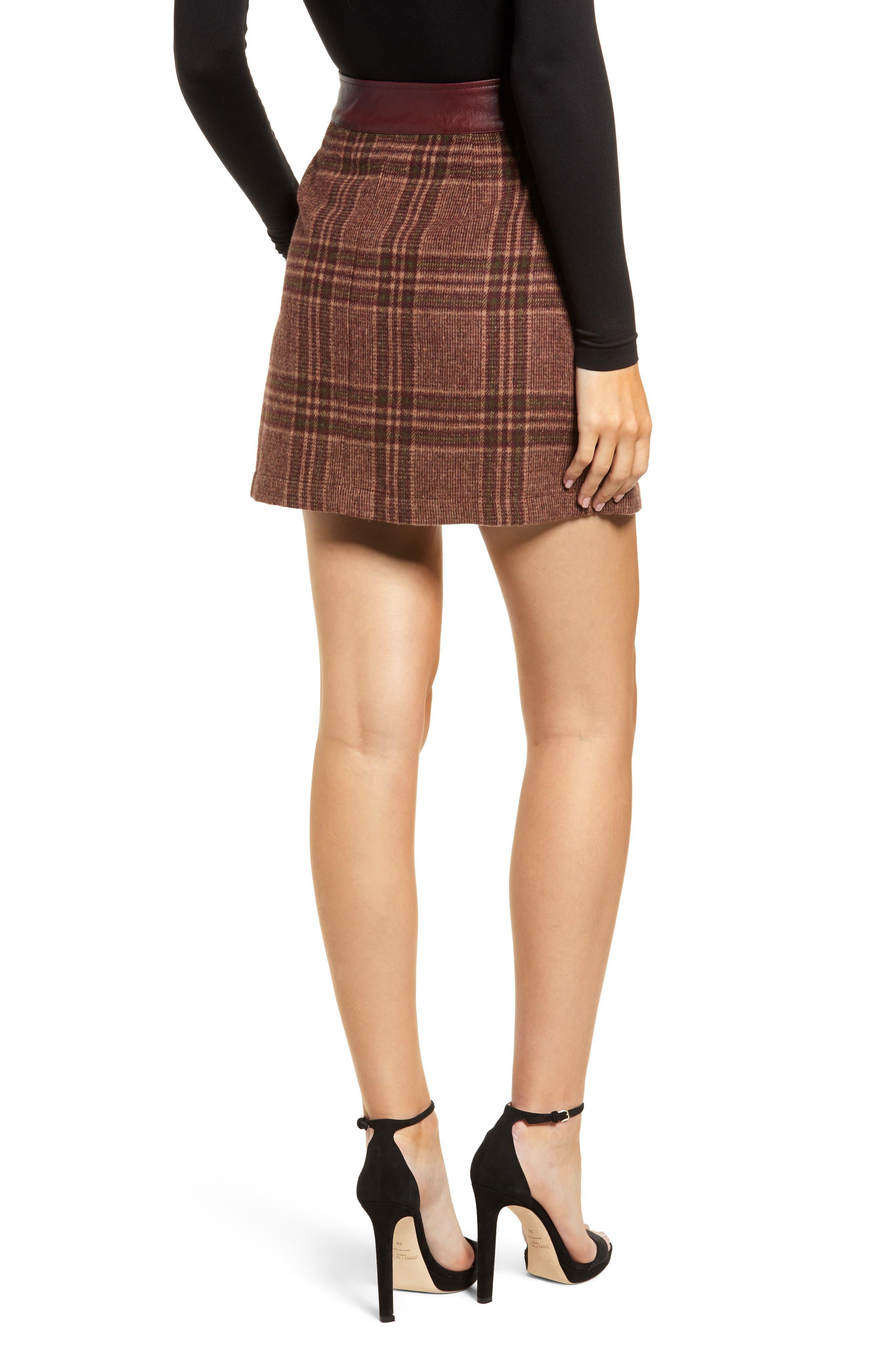 MOON RIVER, Plaid Miniskirt, Alternate thumbnail 2, color, 200