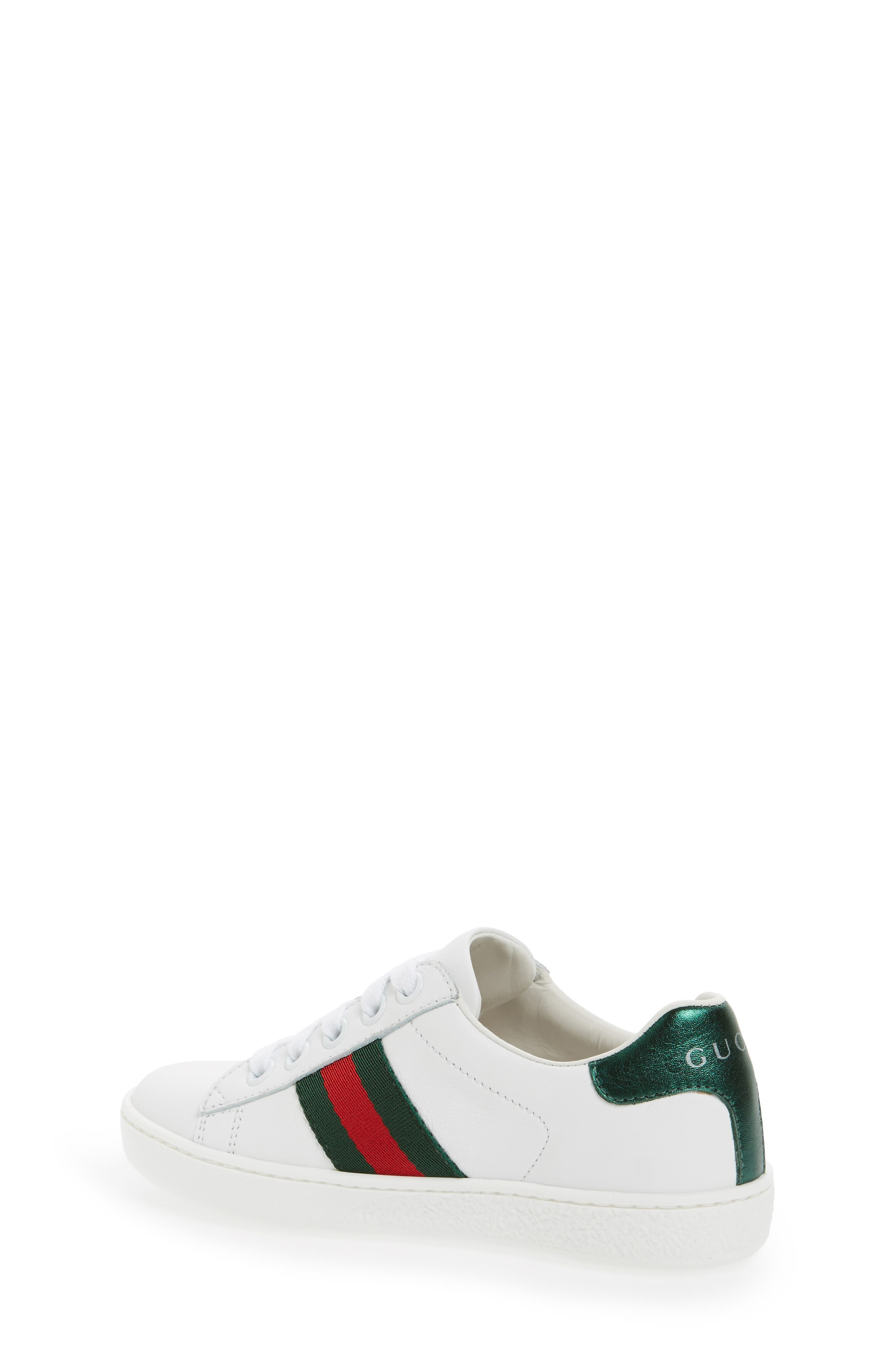 GUCCI, 'Ace' Sneaker, Alternate thumbnail 3, color, WHITE/ GREEN