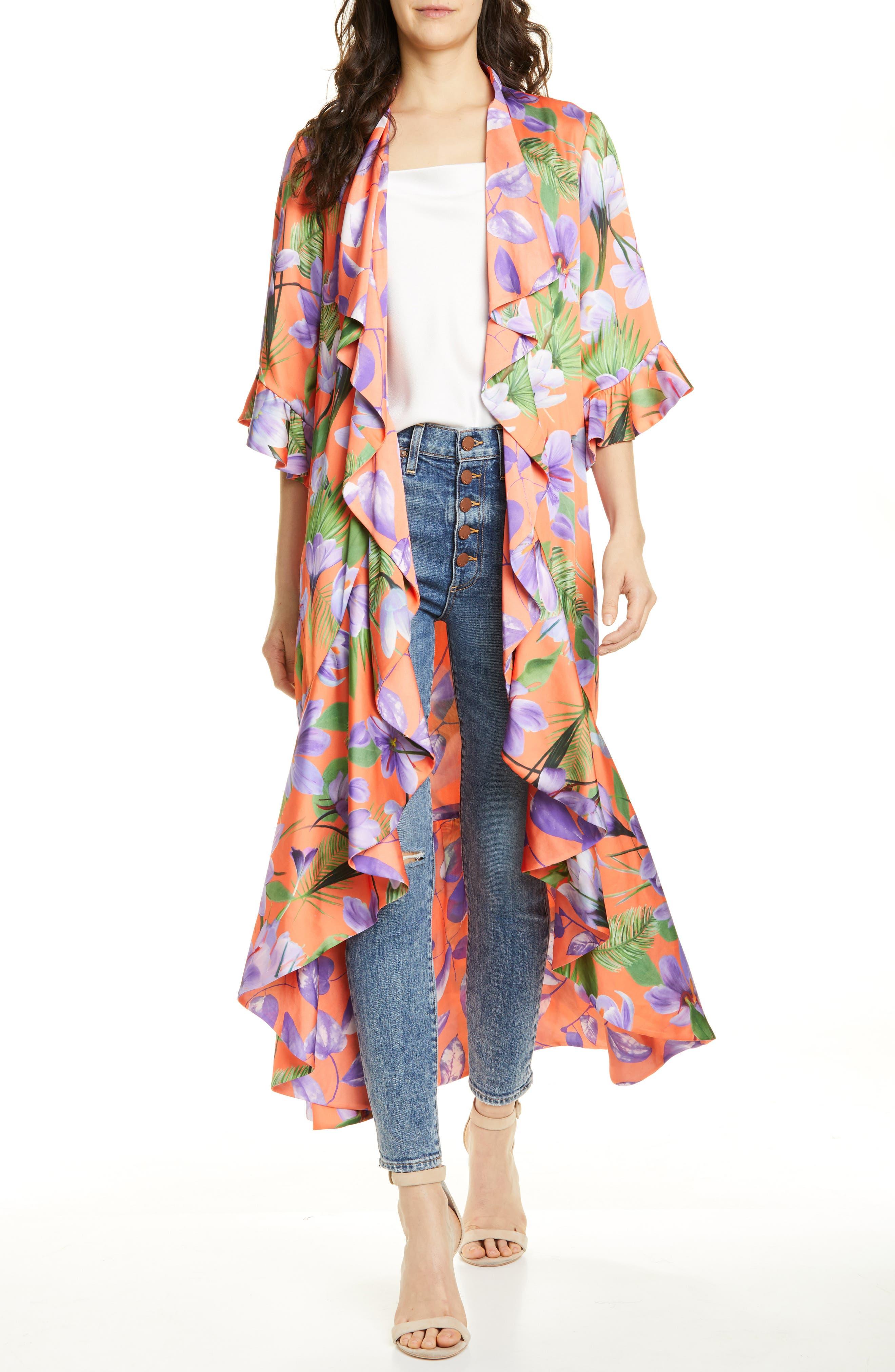 Alice + Olivia Dandi Floral Print Reversible Ruffle Duster, Orange