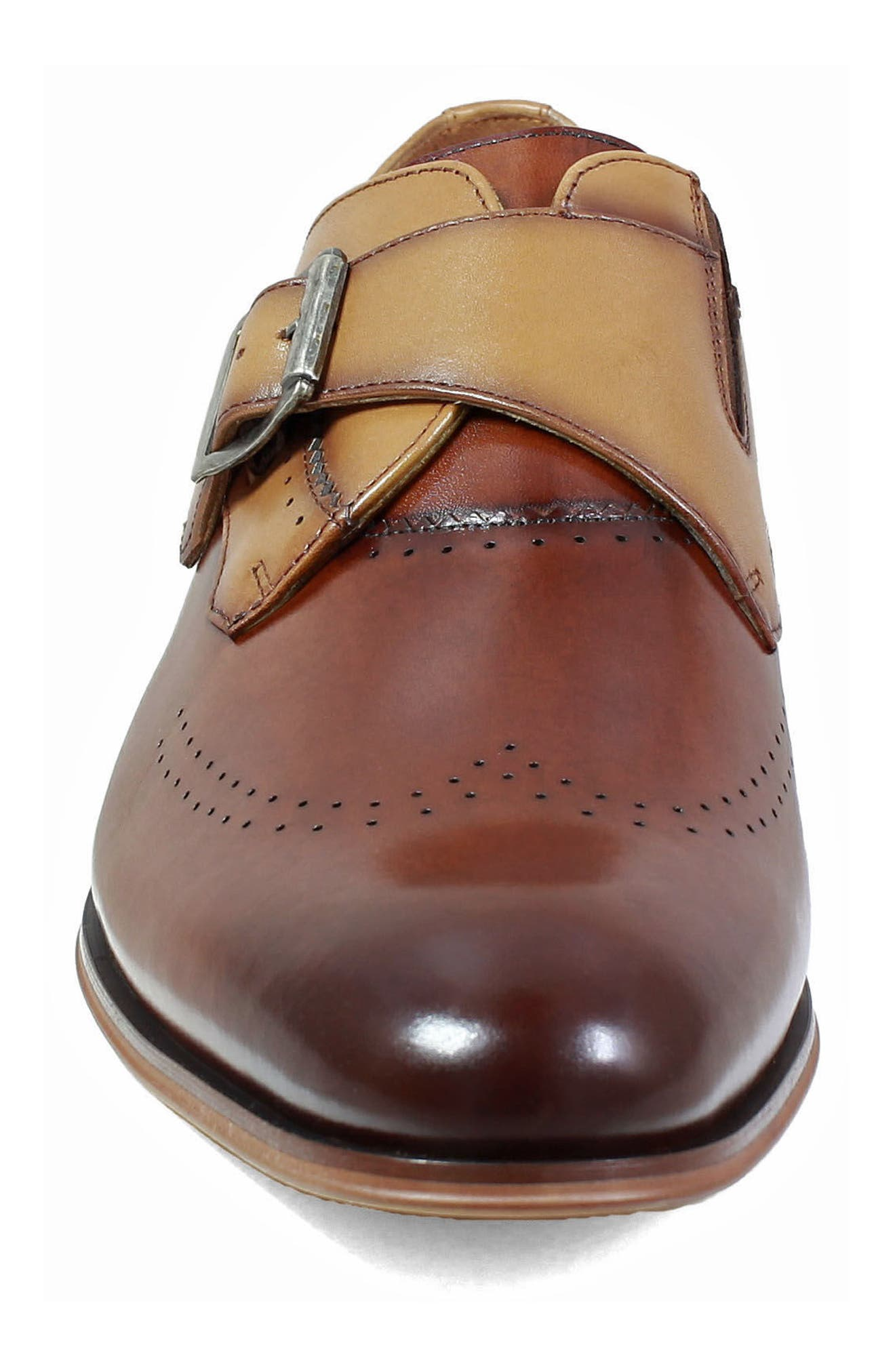 STACY ADAMS, Saxton Perforated Monk Strap Shoe, Alternate thumbnail 4, color, 201
