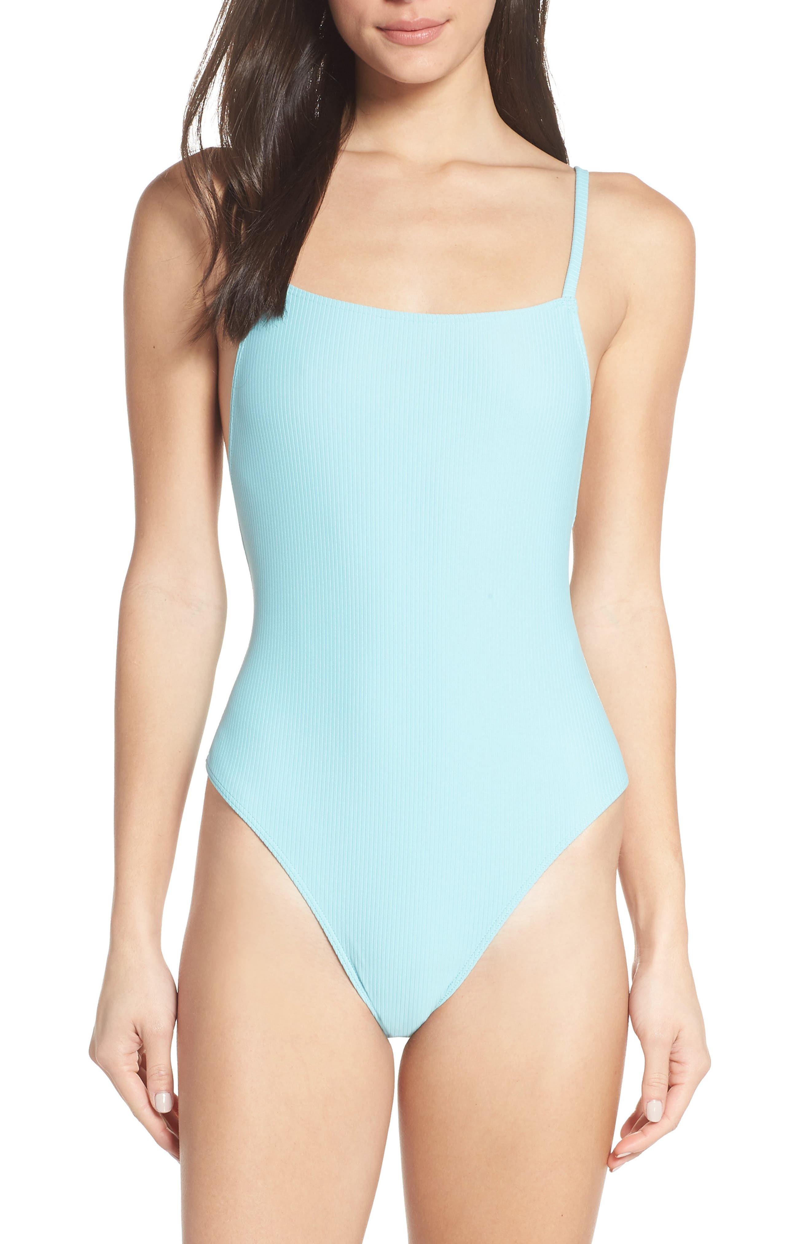 SOMETHING NAVY Core Ribbed One-Piece Swimsuit, Main, color, BLUE GULF