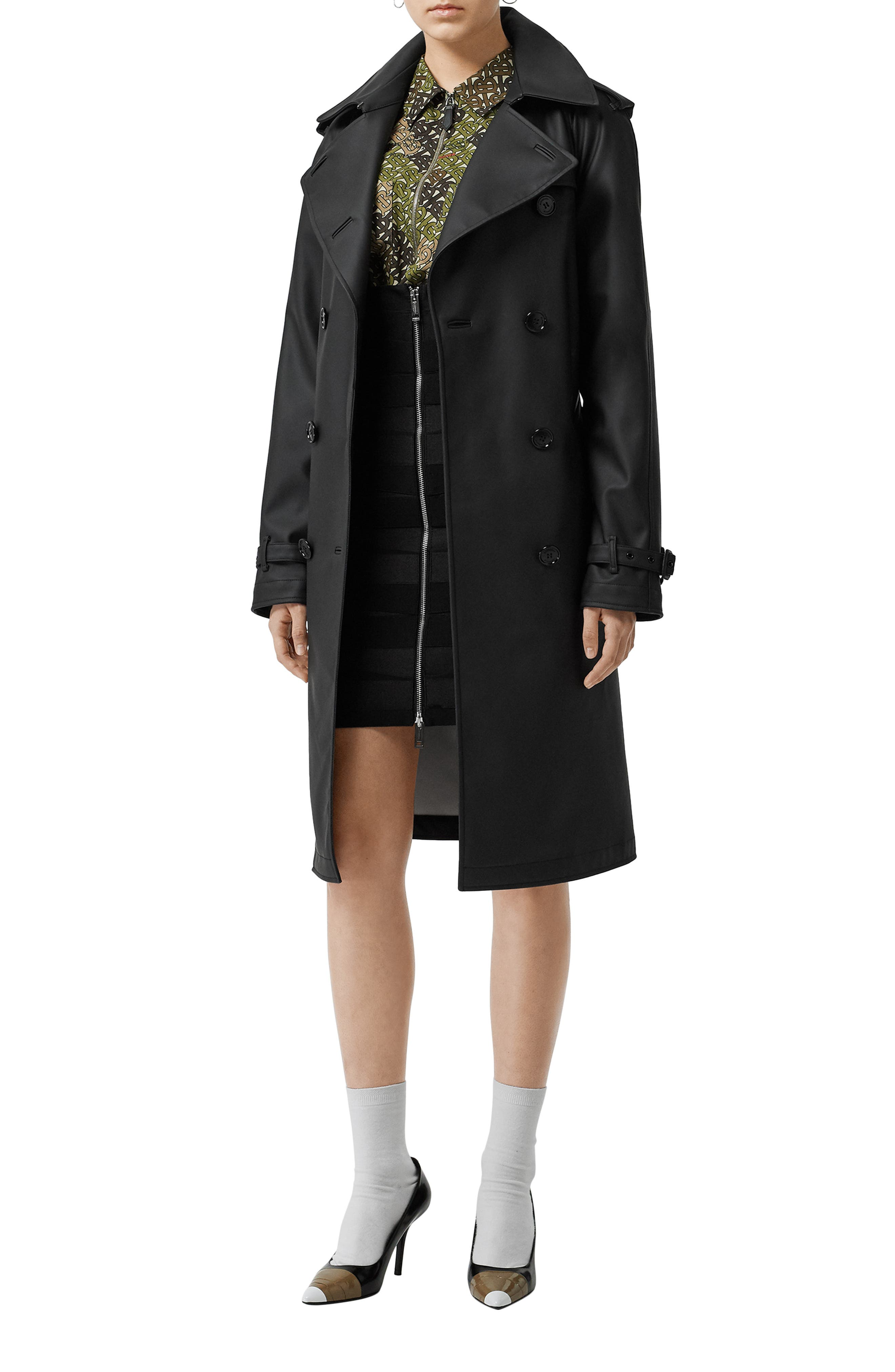BURBERRY, Curradine Waterproof Rubberized Trench Coat, Alternate thumbnail 3, color, BLACK / WHITE