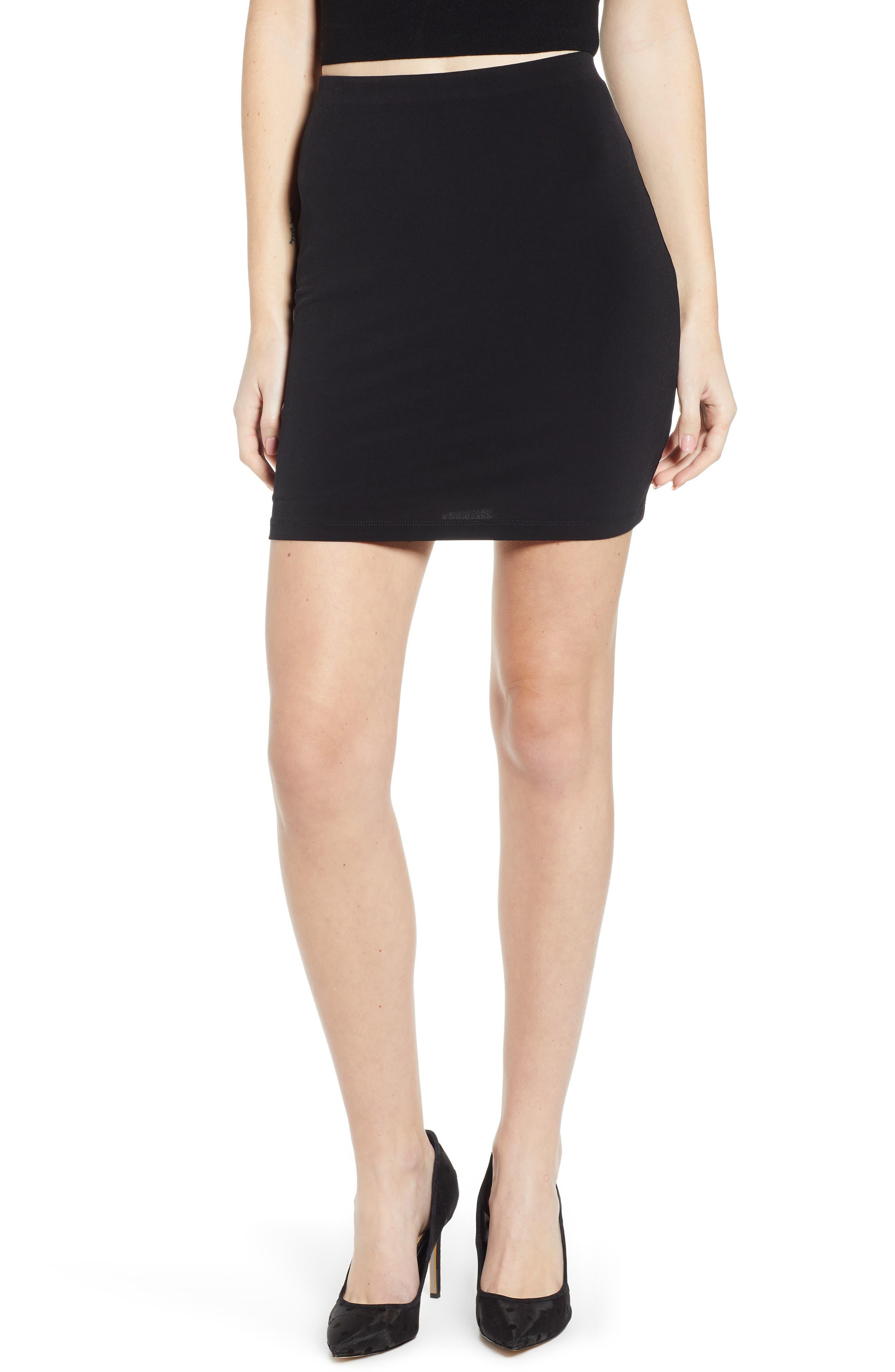 LEITH Mini Body-Con Skirt, Main, color, BLACK