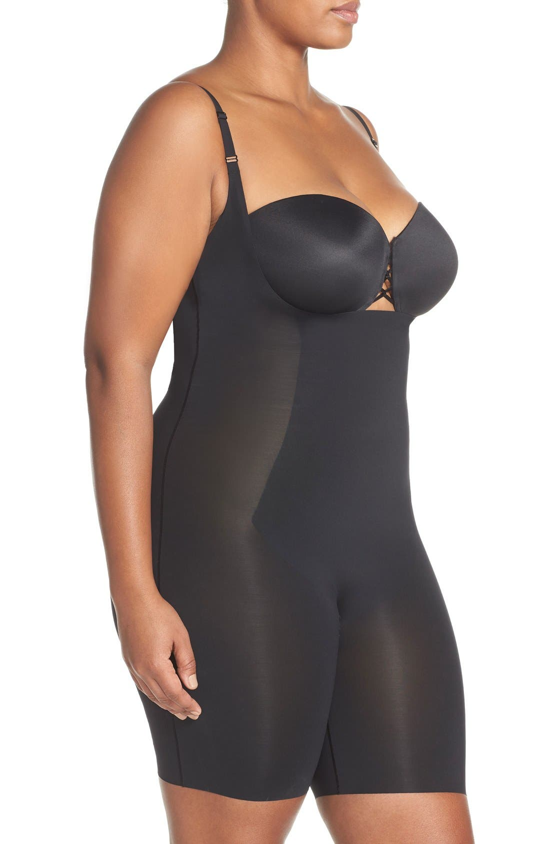 SPANX<SUP>®</SUP>, Thinstincts Open Bust Mid Thigh Bodysuit, Alternate thumbnail 3, color, VERY BLACK