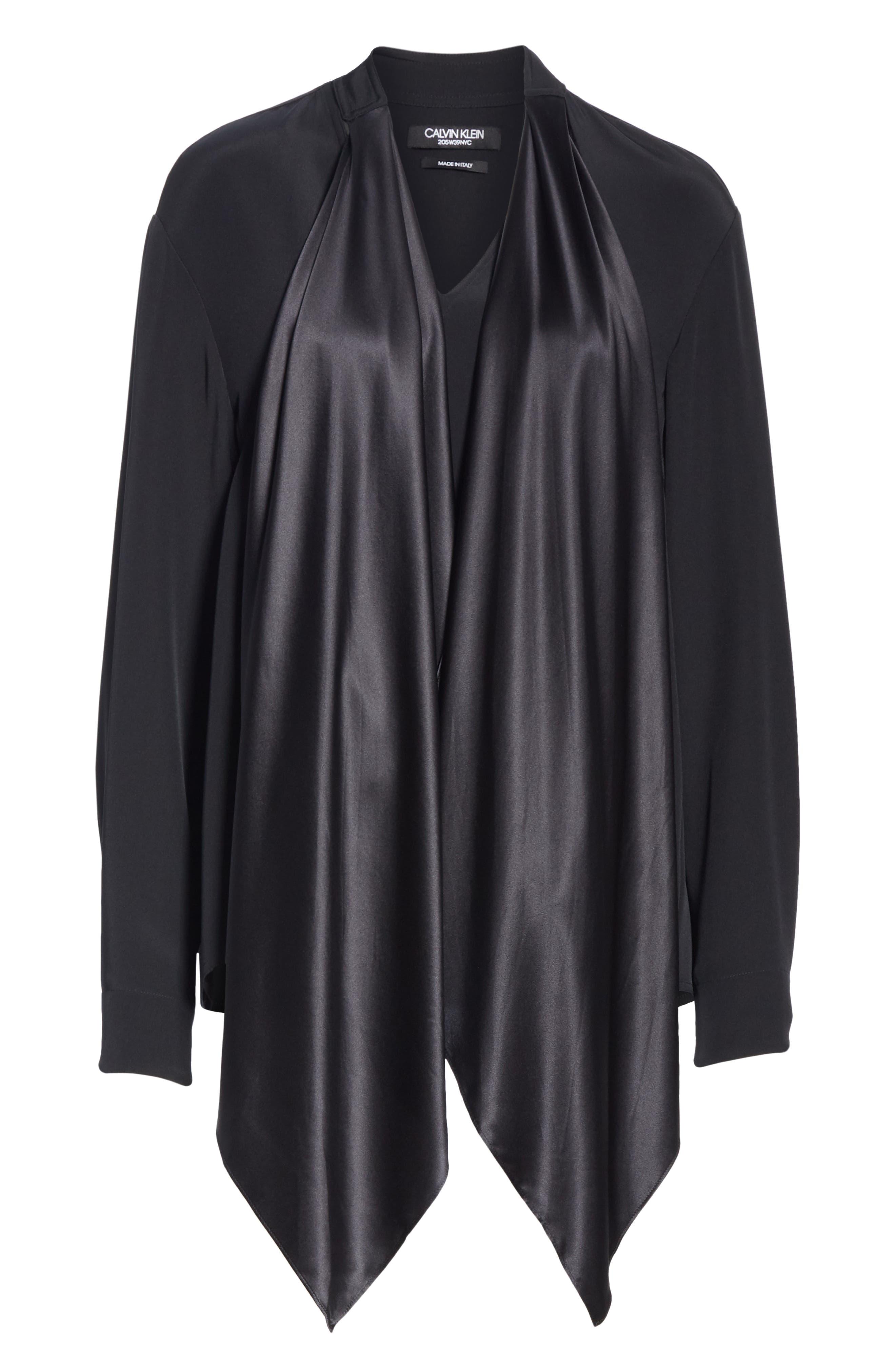 CALVIN KLEIN 205W39NYC, Satin Tie Neck Silk Blouse, Alternate thumbnail 7, color, BLACK