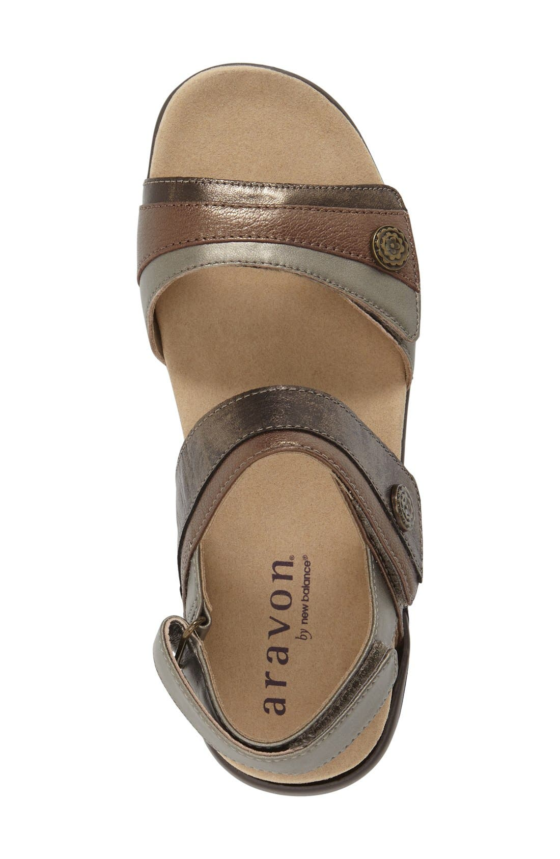 ARAVON, 'Katherine' Sandal, Alternate thumbnail 3, color, GREY LEATHER