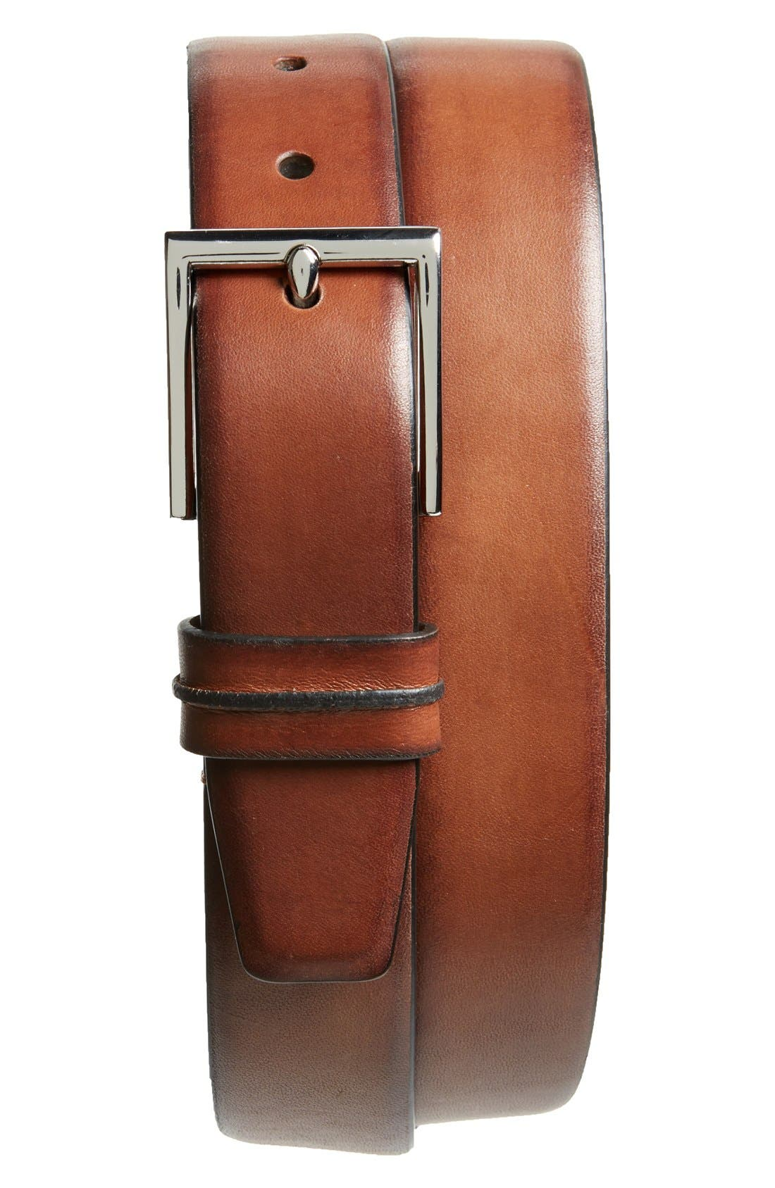 COLE HAAN Leather Belt, Main, color, BRITISH TAN
