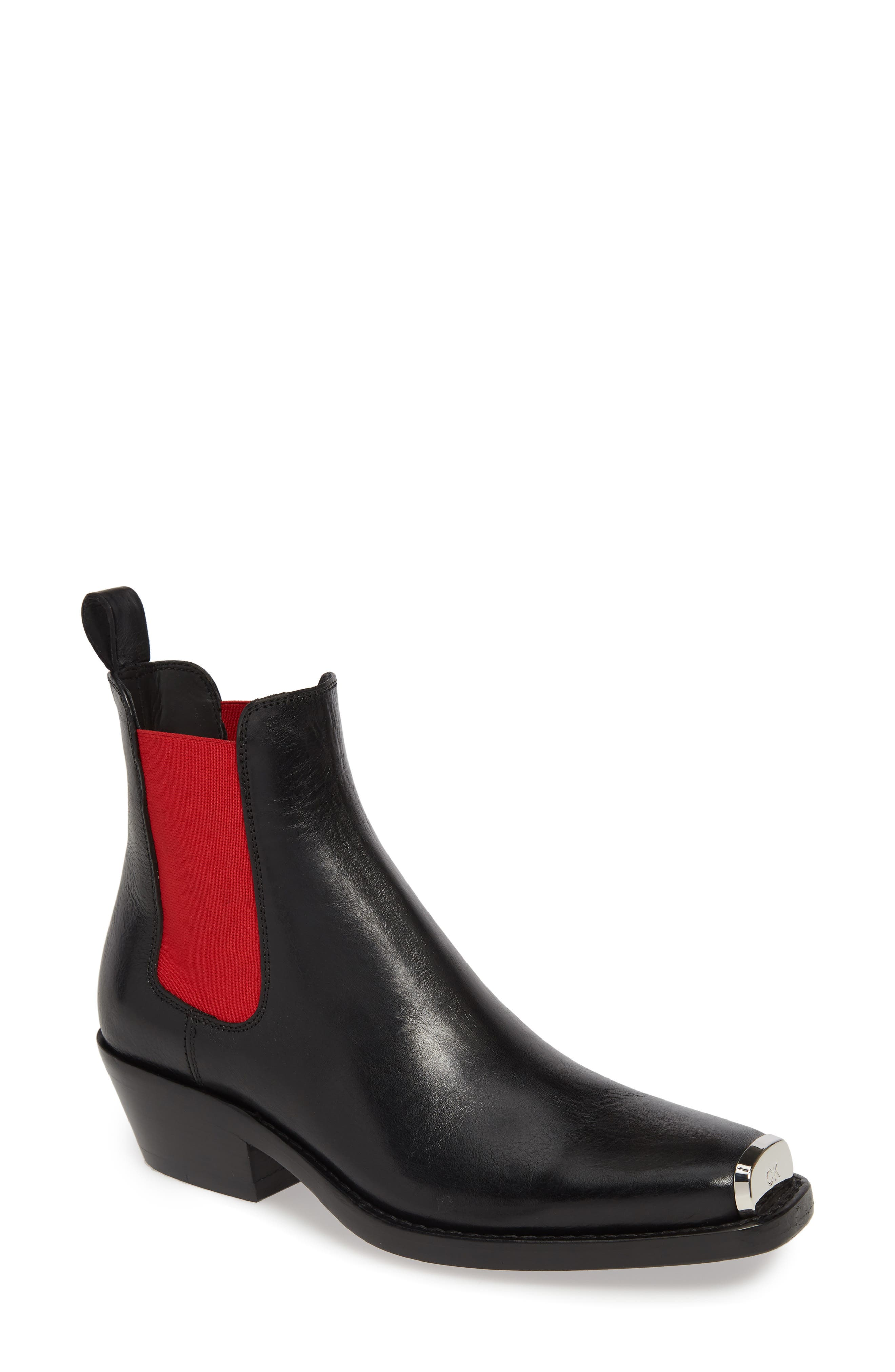 CALVIN KLEIN 205W39NYC, Claire Western Chelsea Boot, Main thumbnail 1, color, BLACK/ RED