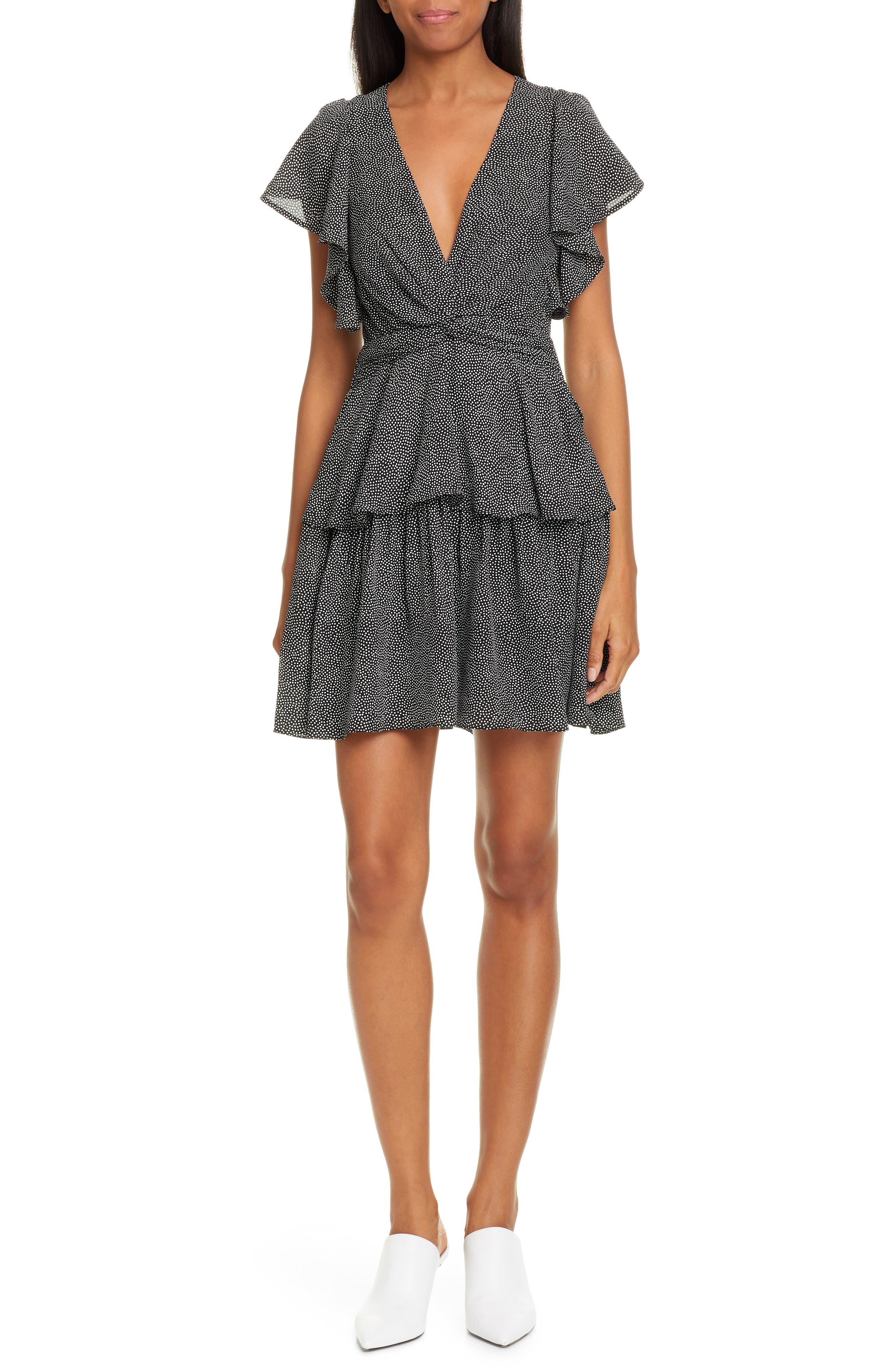A.l.c. Viera Print Silk Minidress, Black
