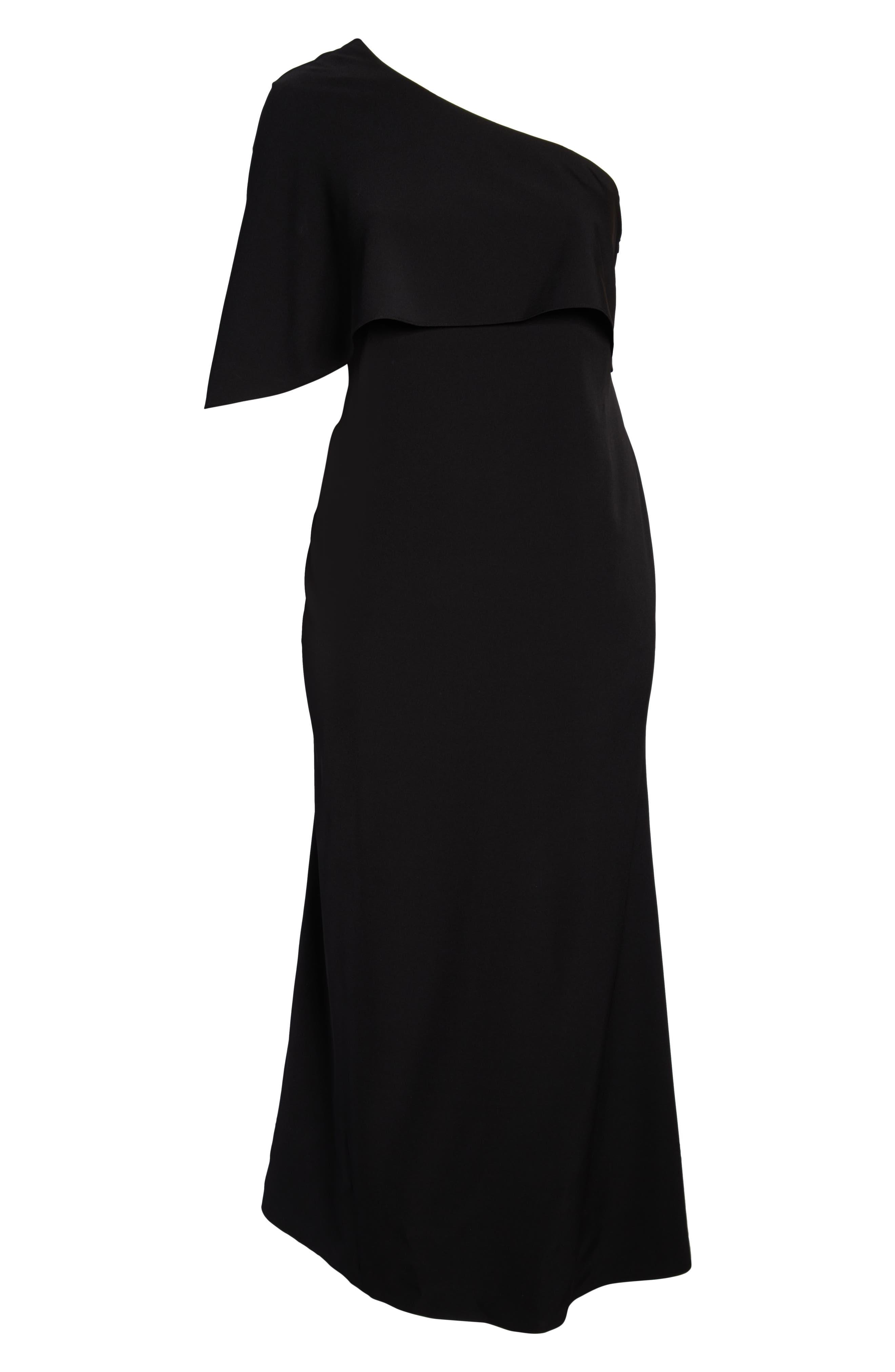 VINCE CAMUTO, One-Shoulder Cape Gown, Alternate thumbnail 7, color, BLACK
