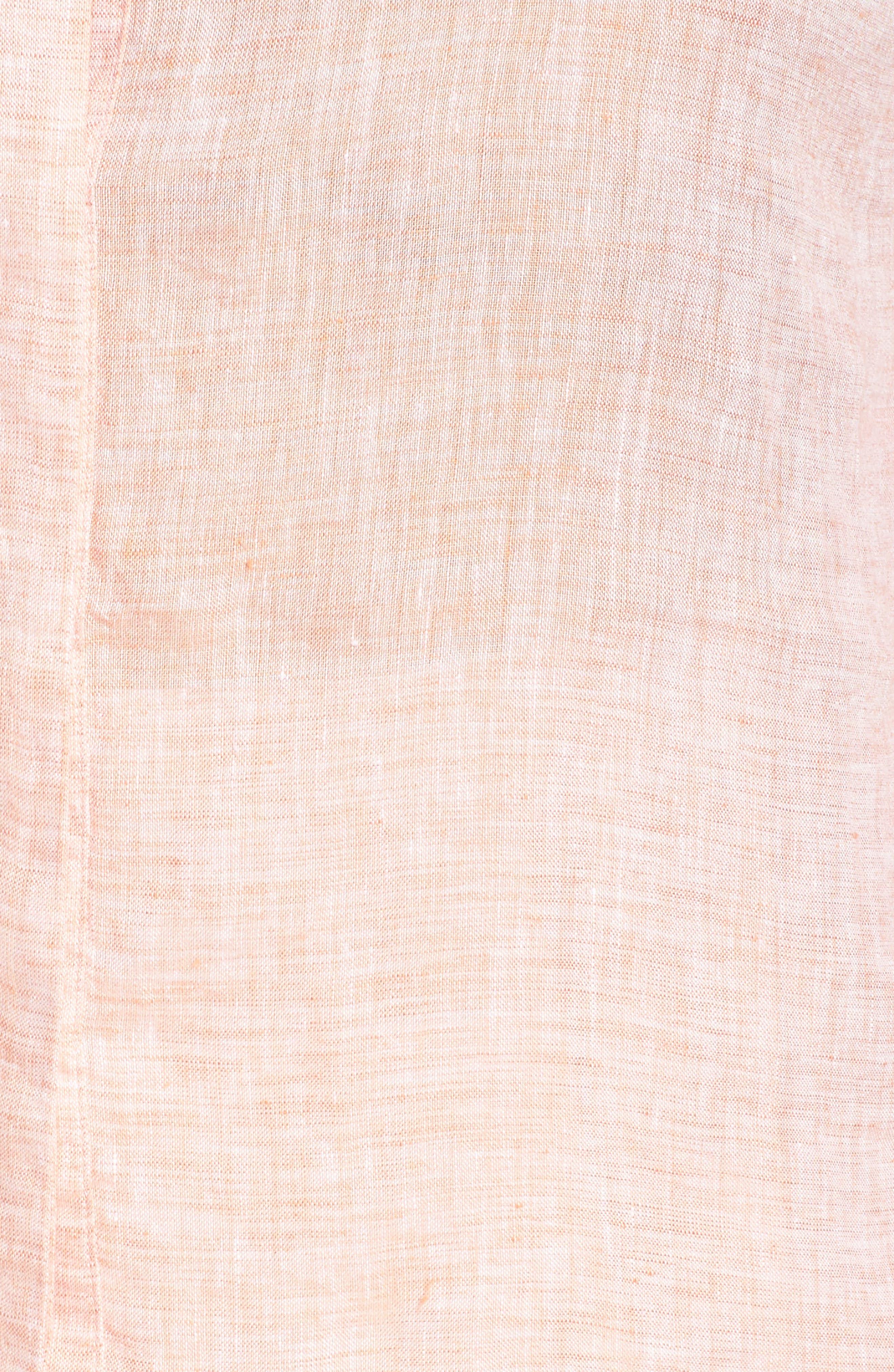 NIC+ZOE, Drifty Woven Linen Shirt, Alternate thumbnail 5, color, TANGERINE