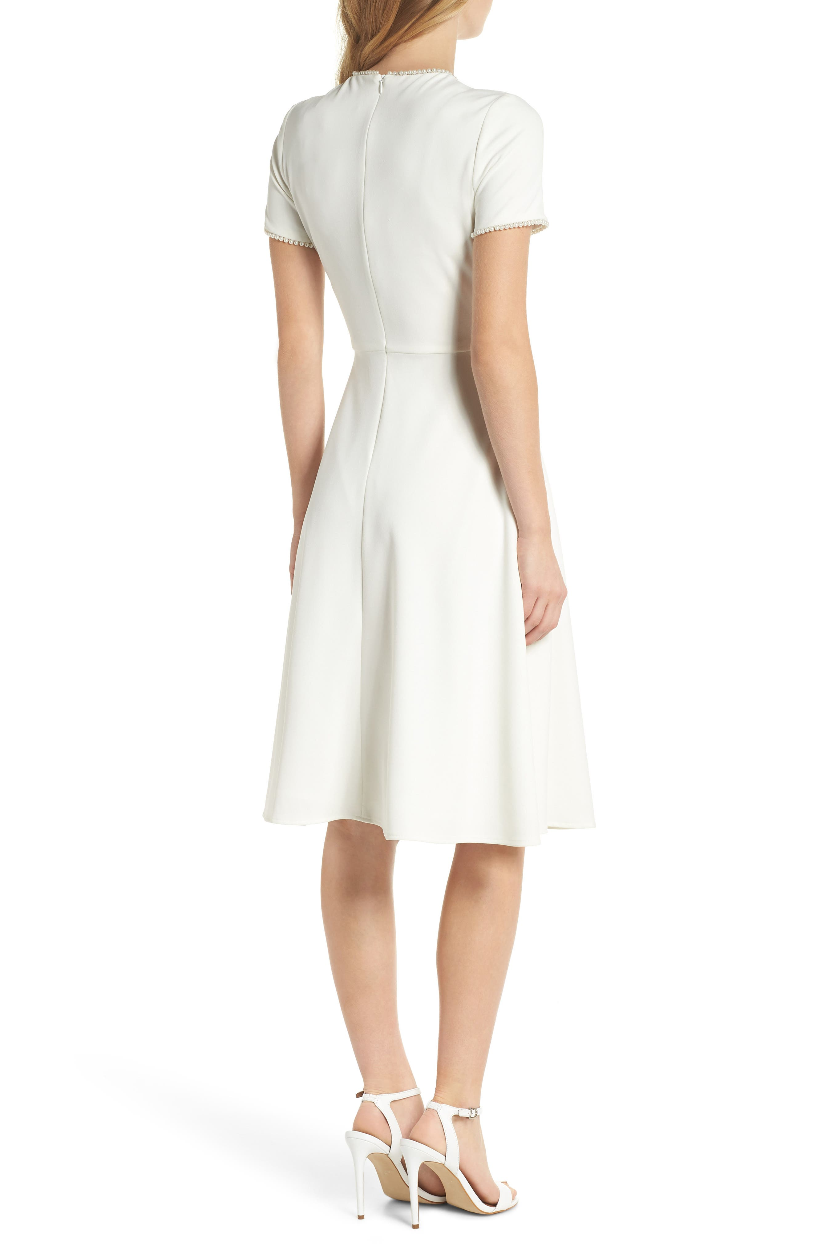 GAL MEETS GLAM COLLECTION, Victoria Pearly Trim Fit & Flare Dress, Alternate thumbnail 2, color, CREME