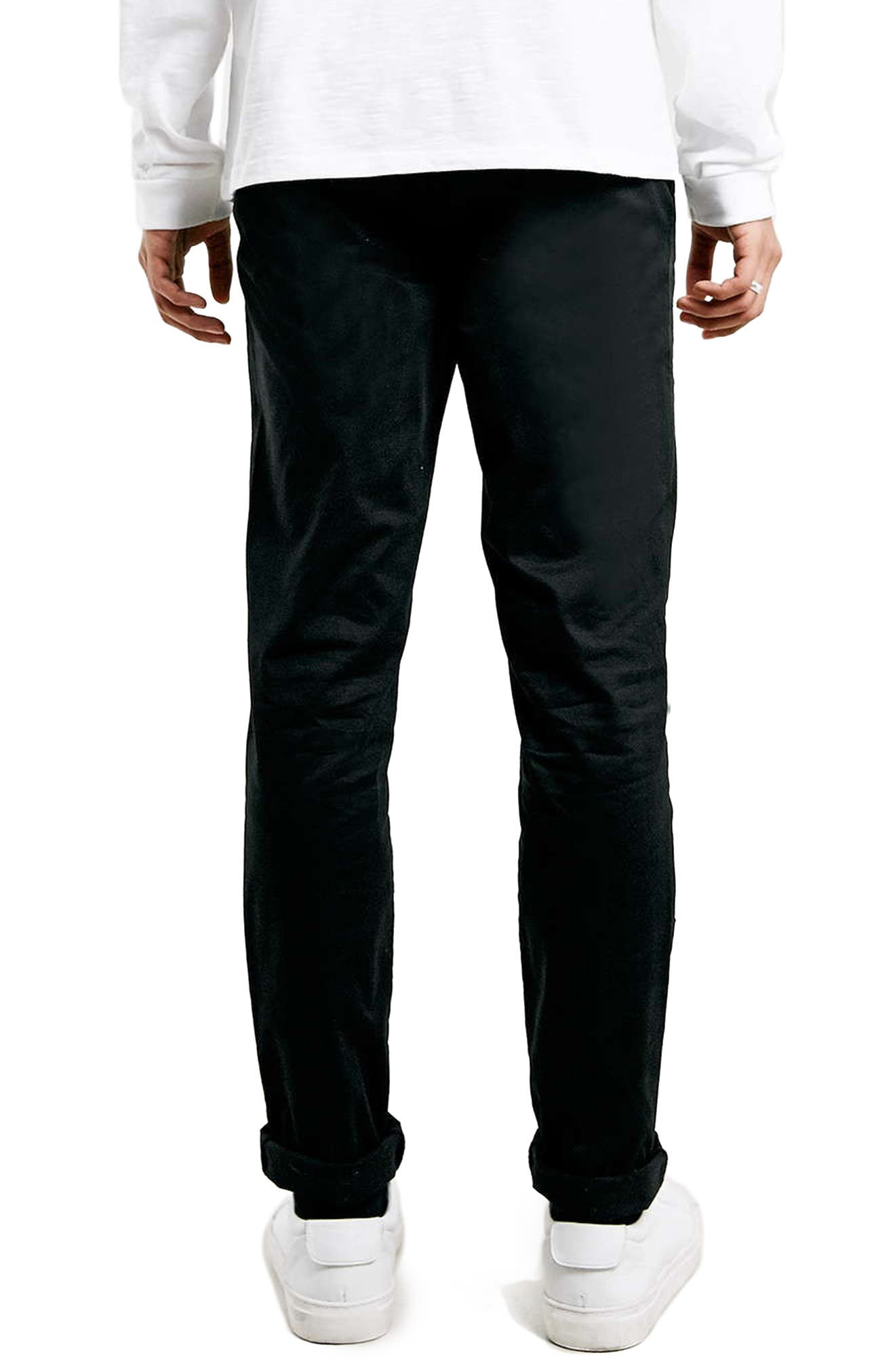 TOPMAN, Stretch Skinny Fit Chinos, Alternate thumbnail 2, color, BLACK
