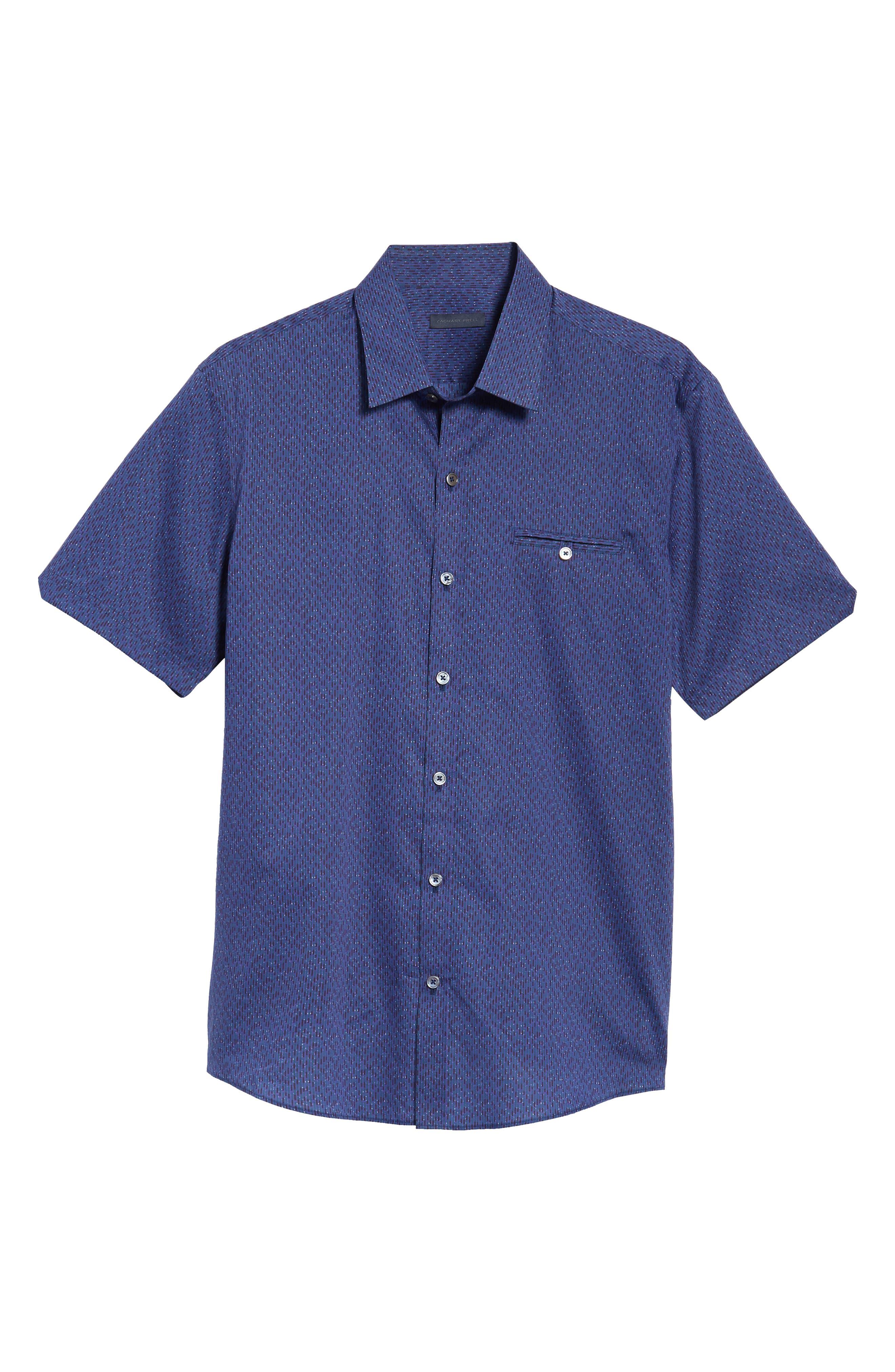 ZACHARY PRELL, Print Sport Shirt, Alternate thumbnail 6, color, 410