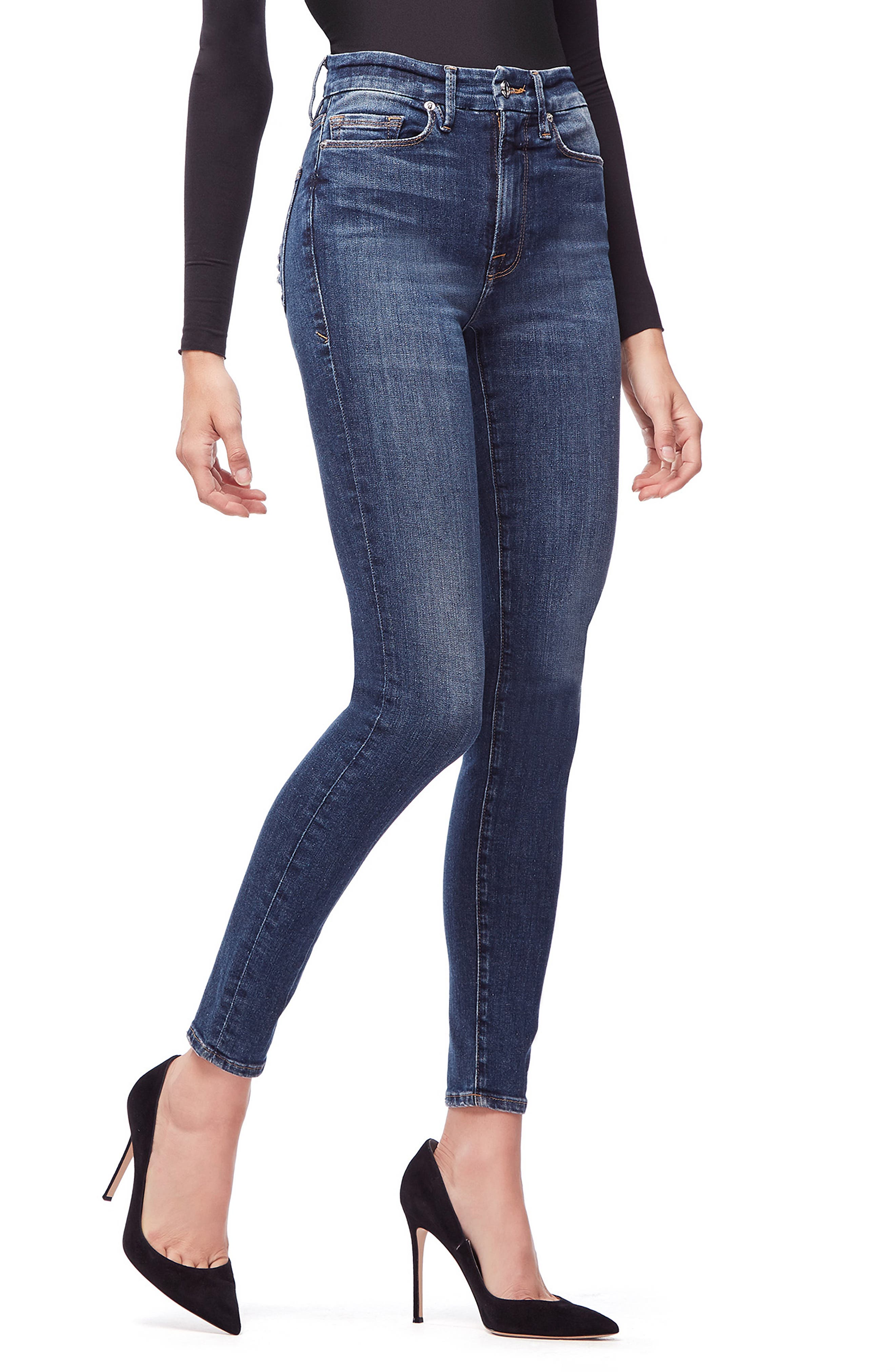 GOOD AMERICAN, Good Waist Ripped High Waist Skinny Jeans, Alternate thumbnail 5, color, BLUE 195