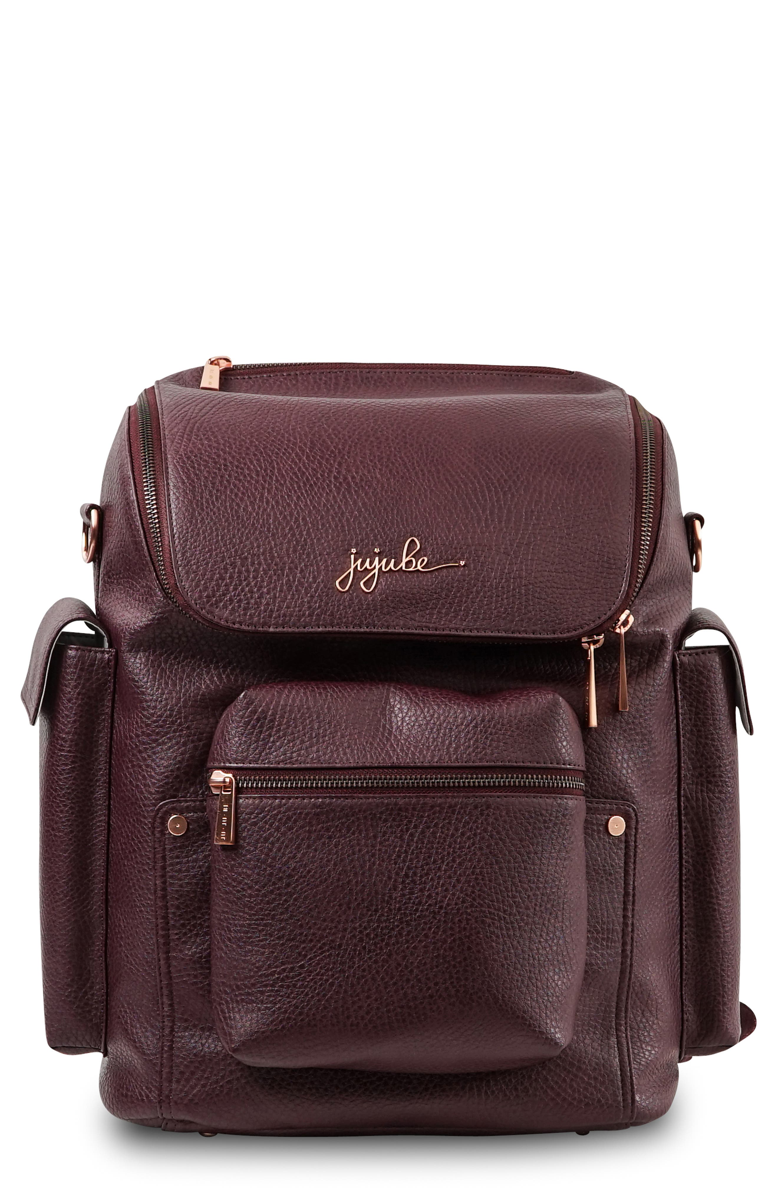 JU-JU-BE, Ever Collection Forever Faux Leather Diaper Backpack, Main thumbnail 1, color, PLUM