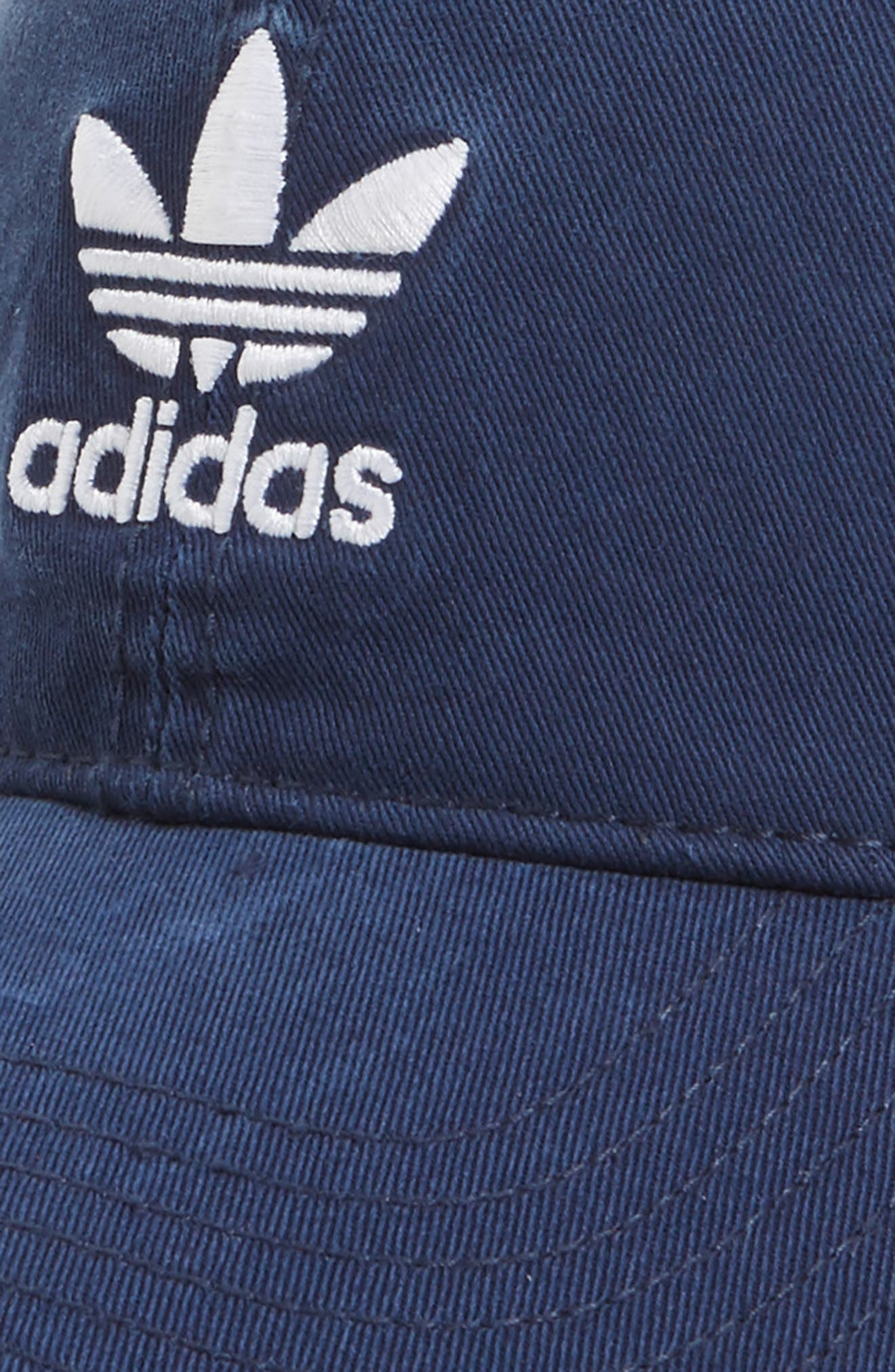 ADIDAS ORIGINALS, Relaxed Baseball Cap, Alternate thumbnail 3, color, NAVY