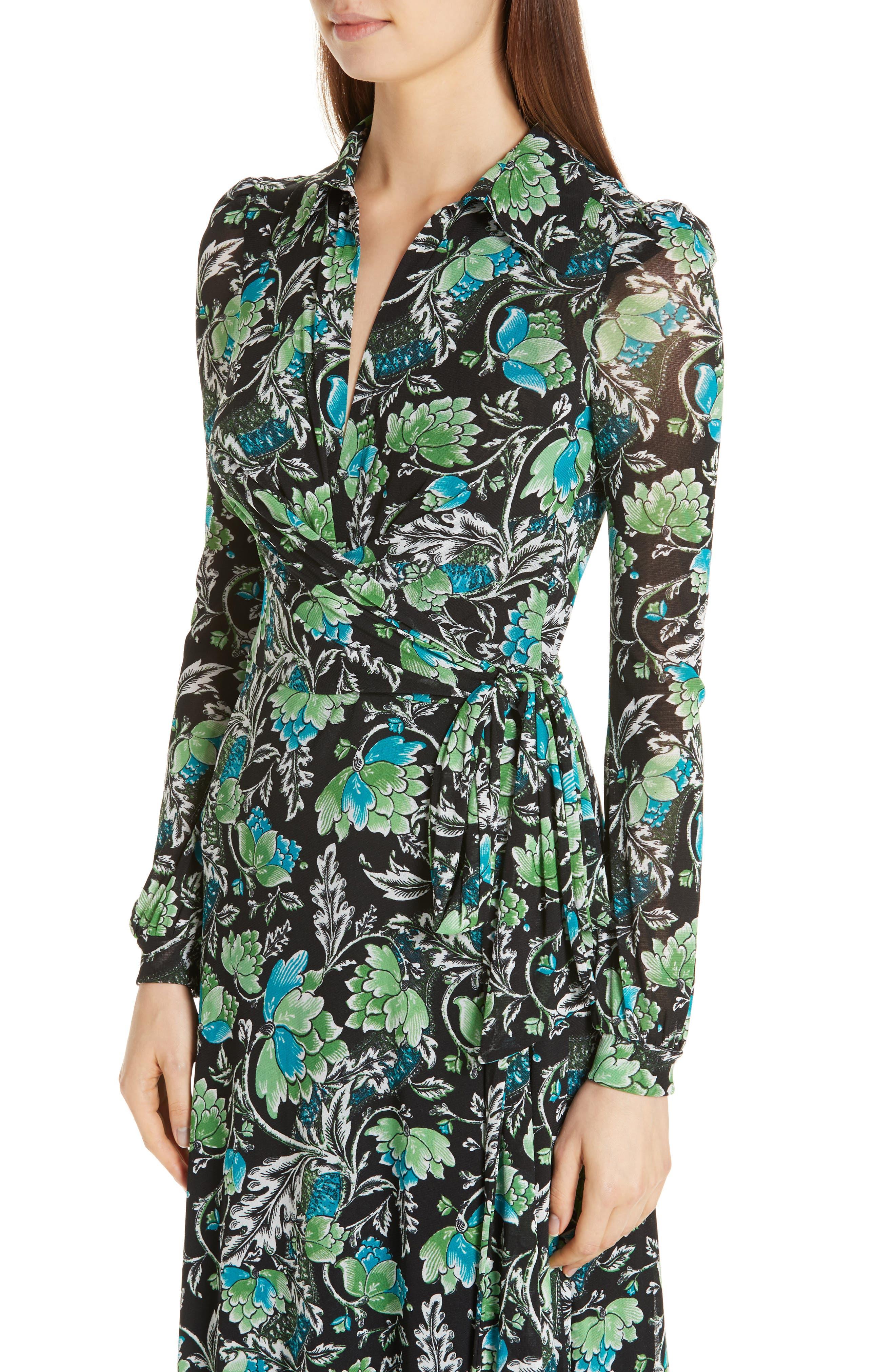 DVF, Phoenix Floral Print Wrap Dress, Alternate thumbnail 5, color, 001