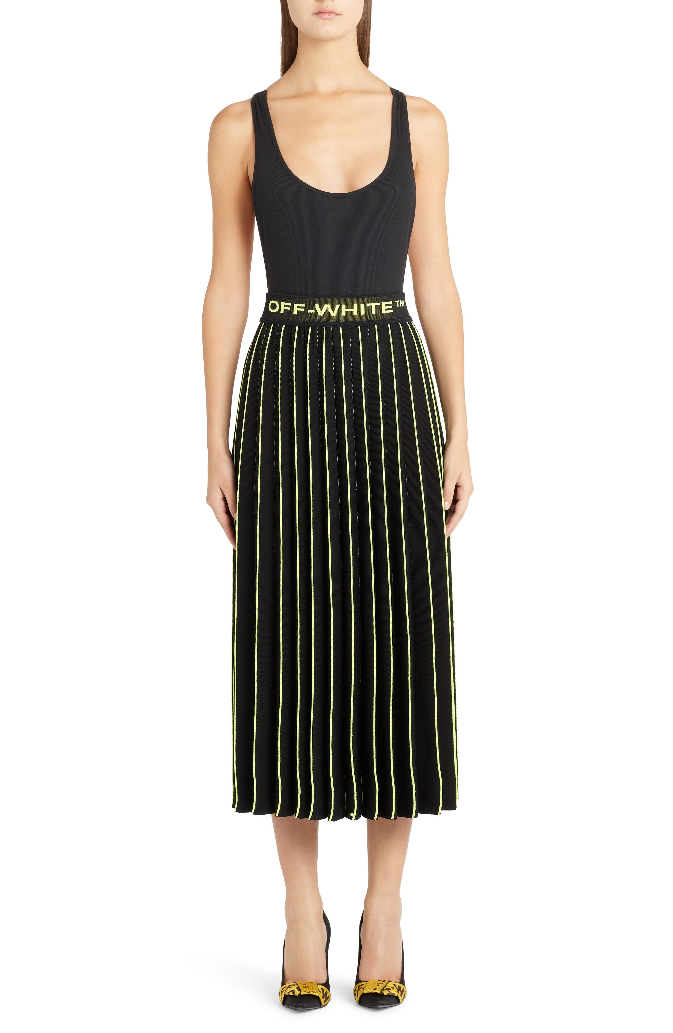 OFF-WHITE, Plissé Sweater Skirt, Alternate thumbnail 6, color, BLACK