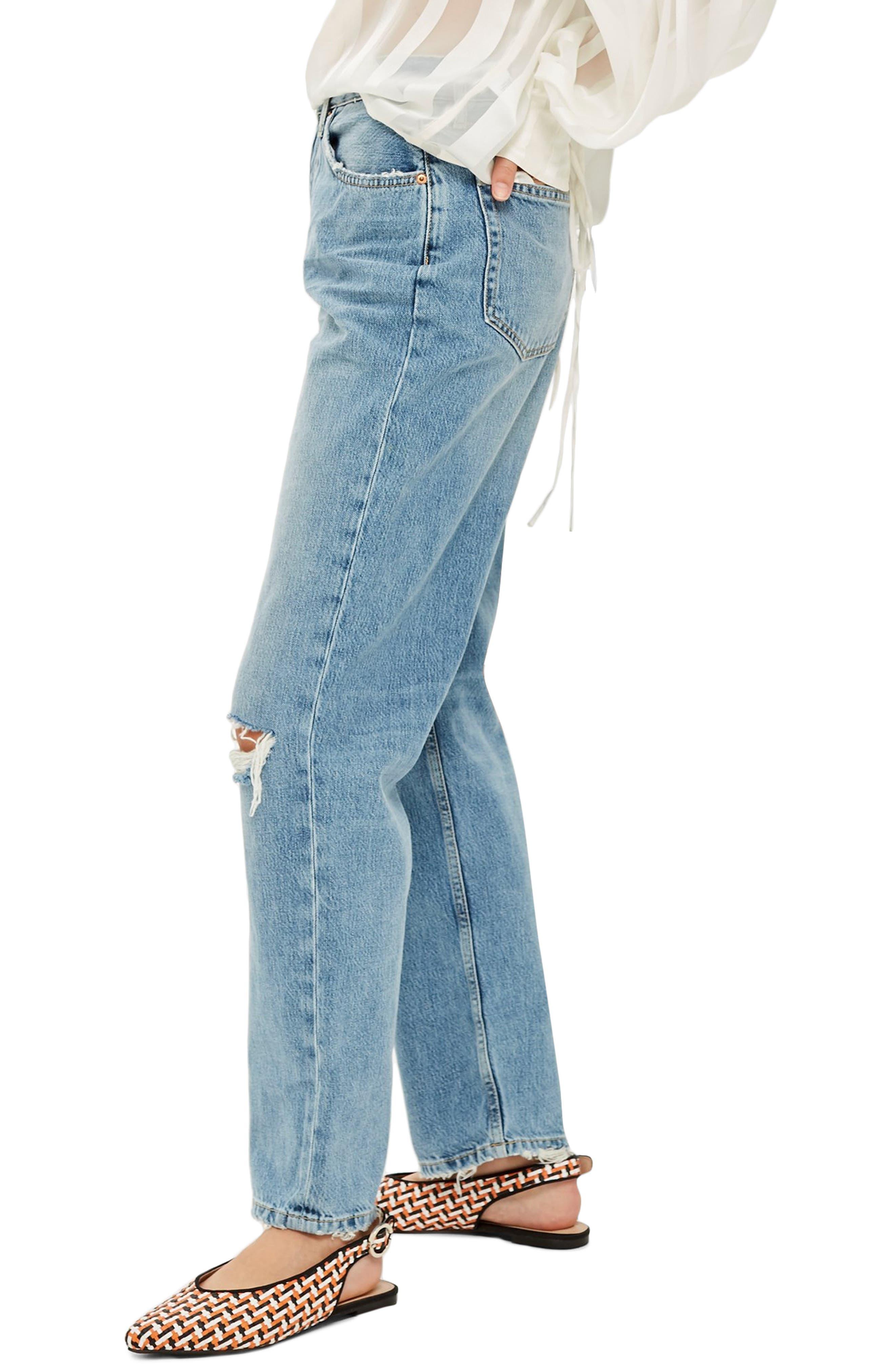 TOPSHOP, One Rip New Boyfriend Jeans, Alternate thumbnail 4, color, 420
