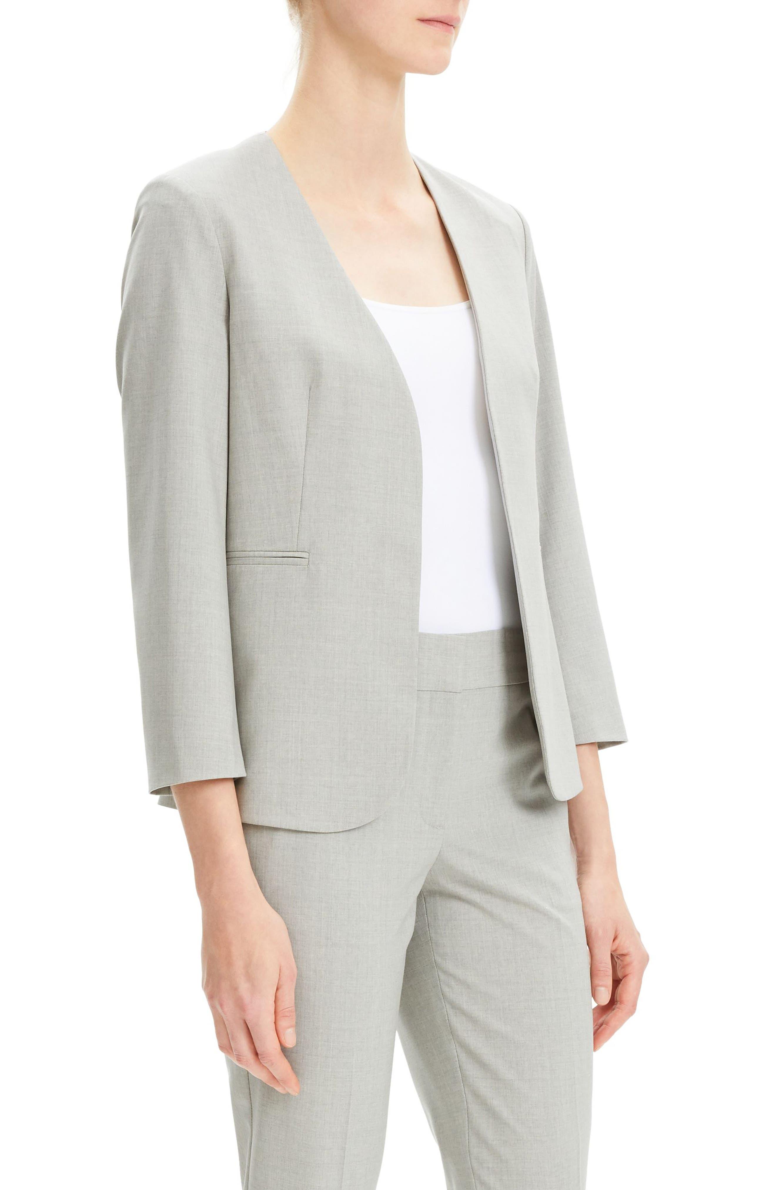 THEORY, Lindrayia B Good Wool Suit Jacket, Alternate thumbnail 4, color, LIGHT GREY MELANGE