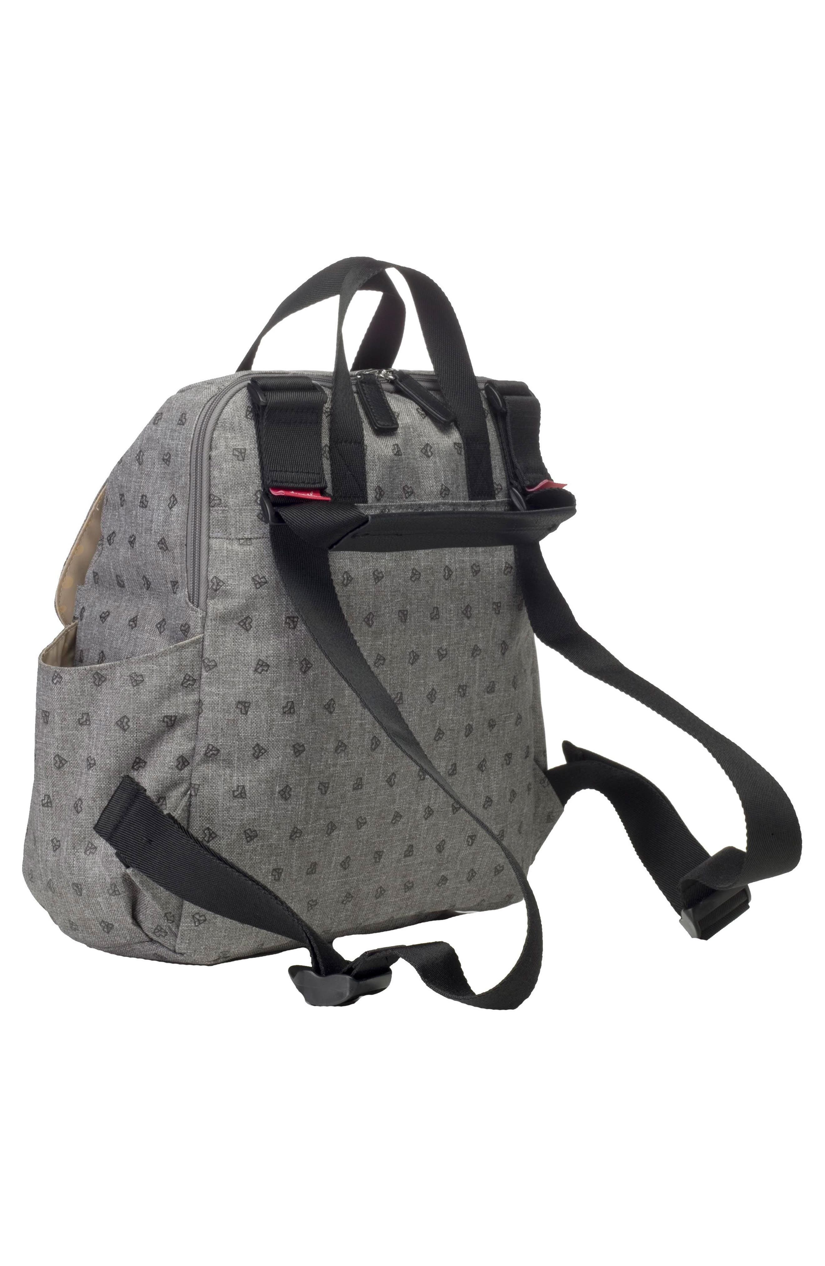 BABYMEL, Robyn Convertible Diaper Backpack, Alternate thumbnail 6, color, GREY ORIGAMI HEART