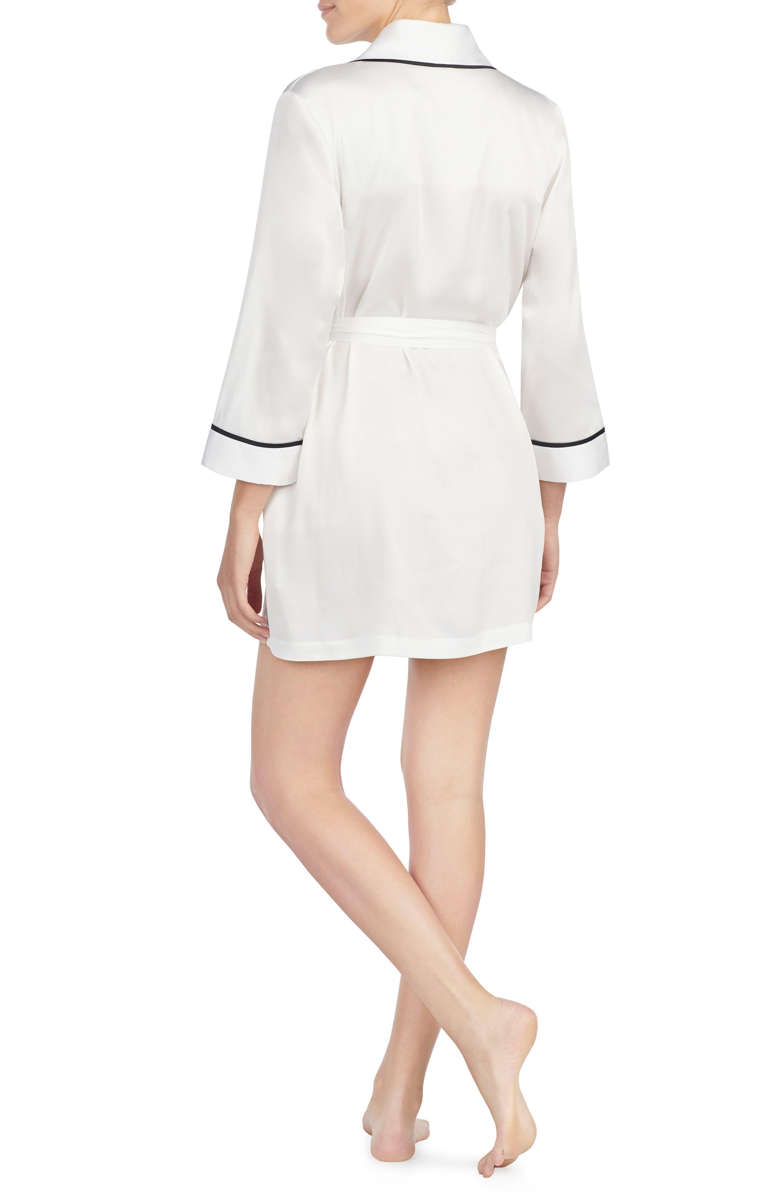 KATE SPADE NEW YORK, mrs charmeuse short robe, Alternate thumbnail 2, color, OFF WHITE