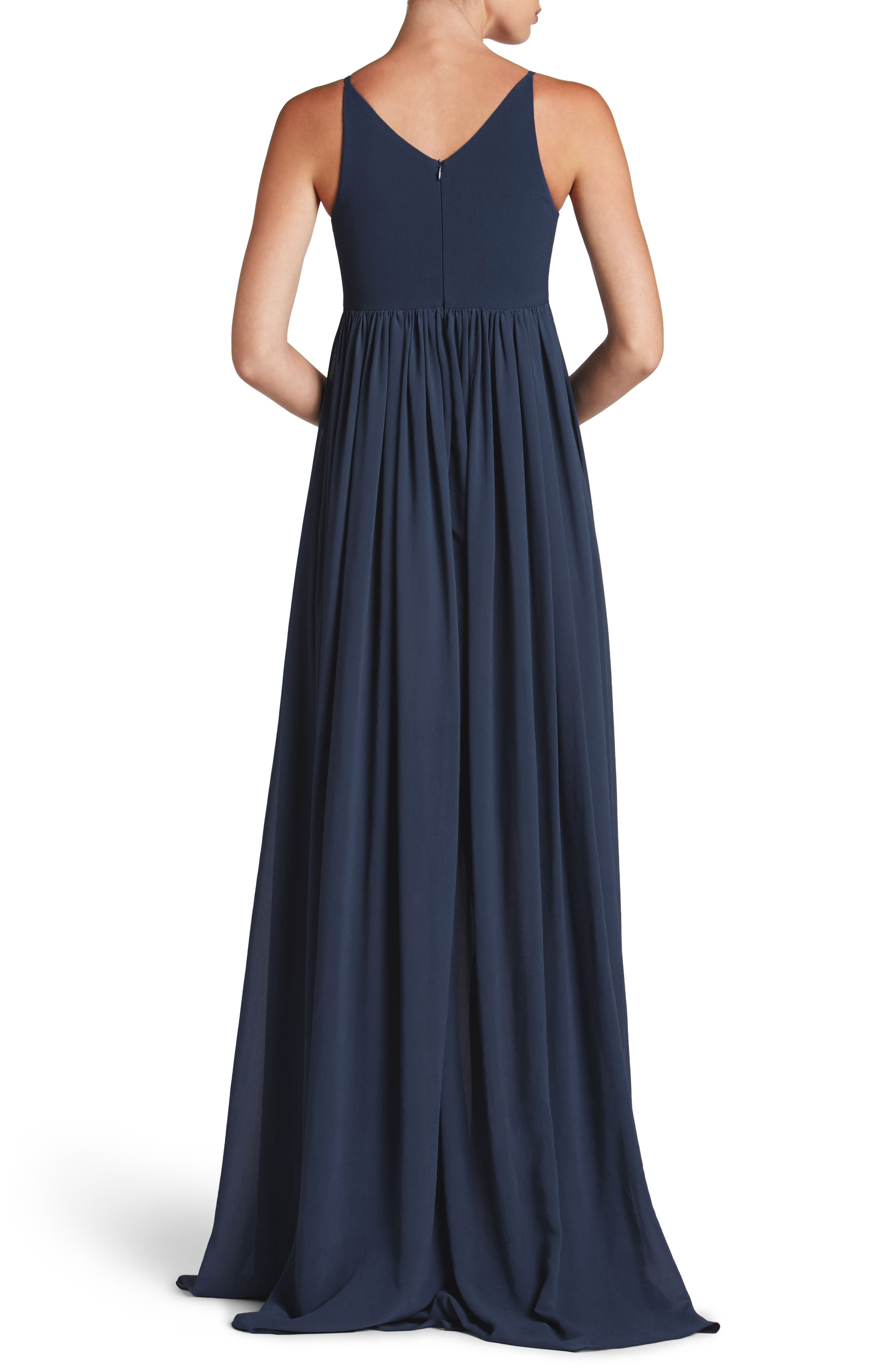 DRESS THE POPULATION, Phoebe Chiffon Gown, Alternate thumbnail 2, color, 456