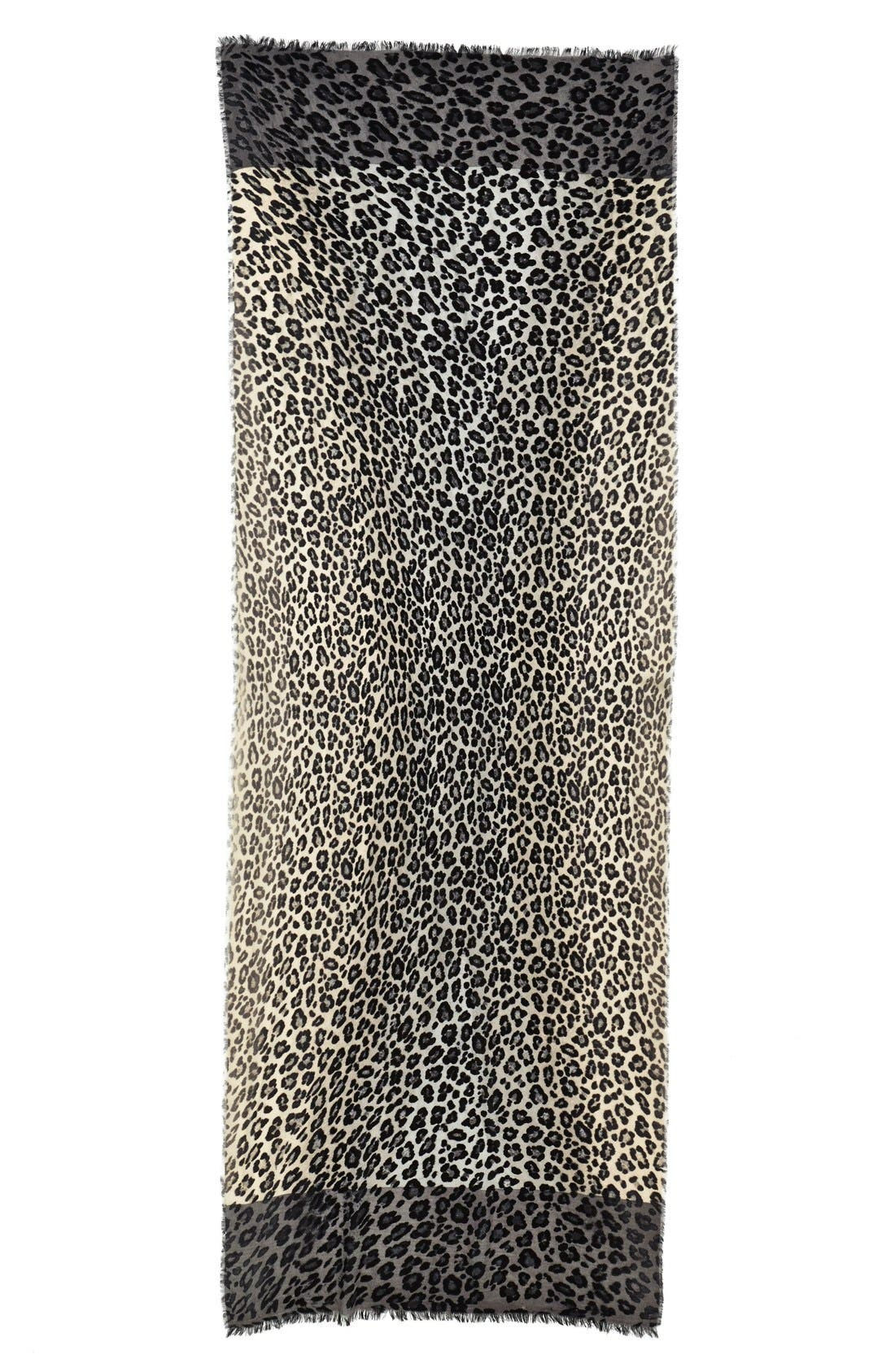 NORDSTROM, 'Luxe Animal' Challis Scarf, Alternate thumbnail 2, color, 020
