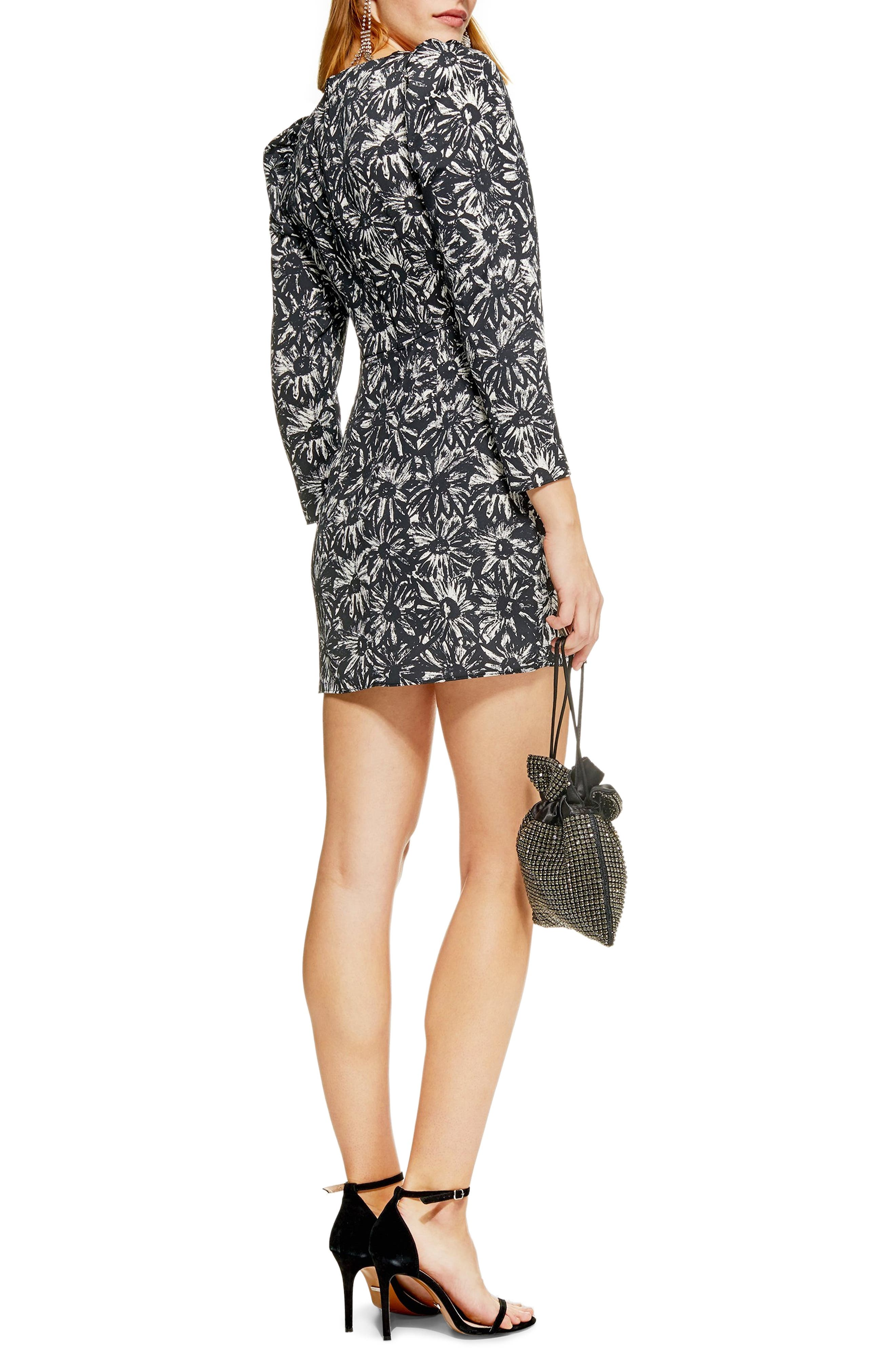 TOPSHOP, Daisy Ruched Minidress, Alternate thumbnail 3, color, 001