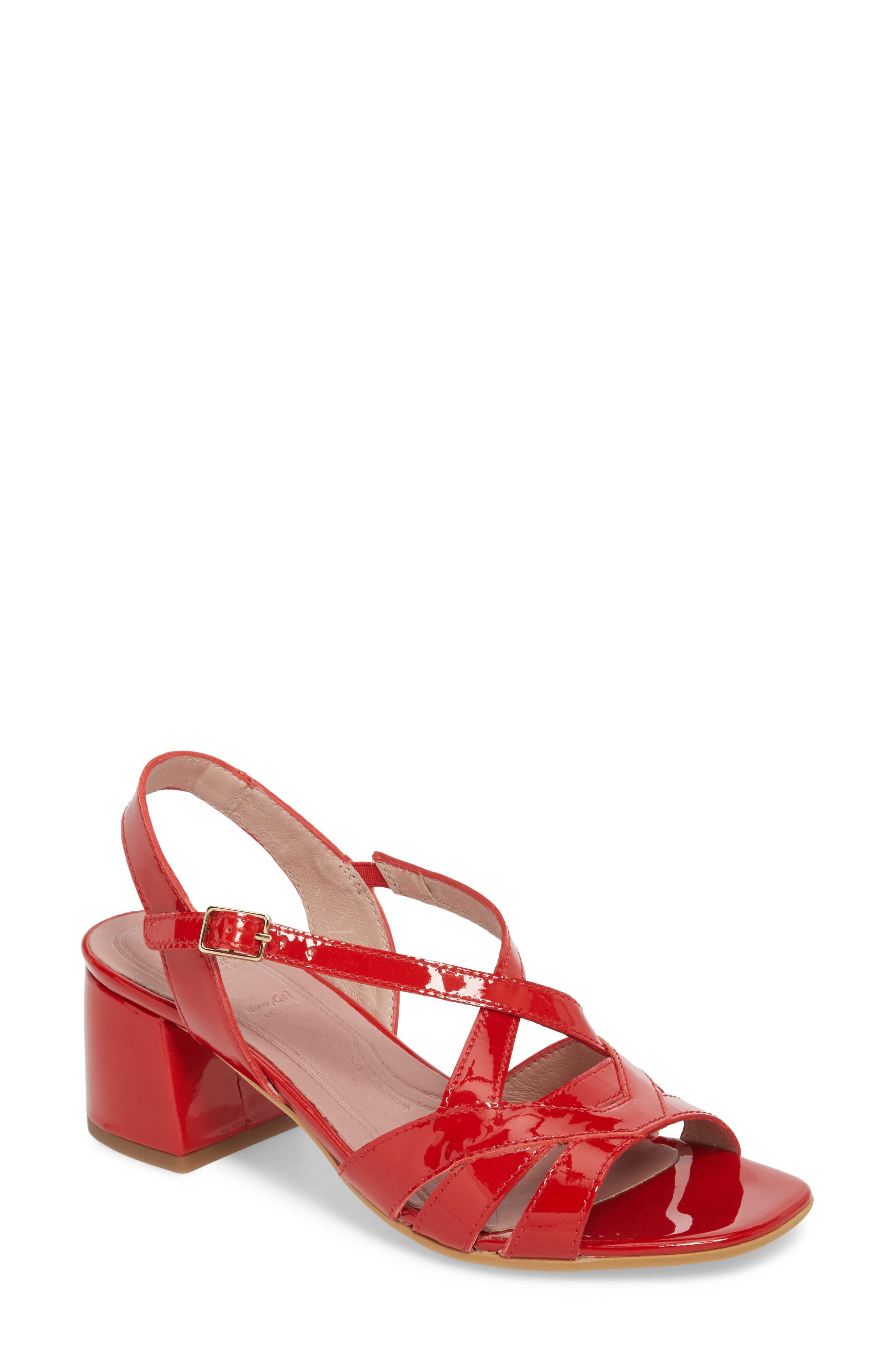 Wonders Block Heel Sandal, Red