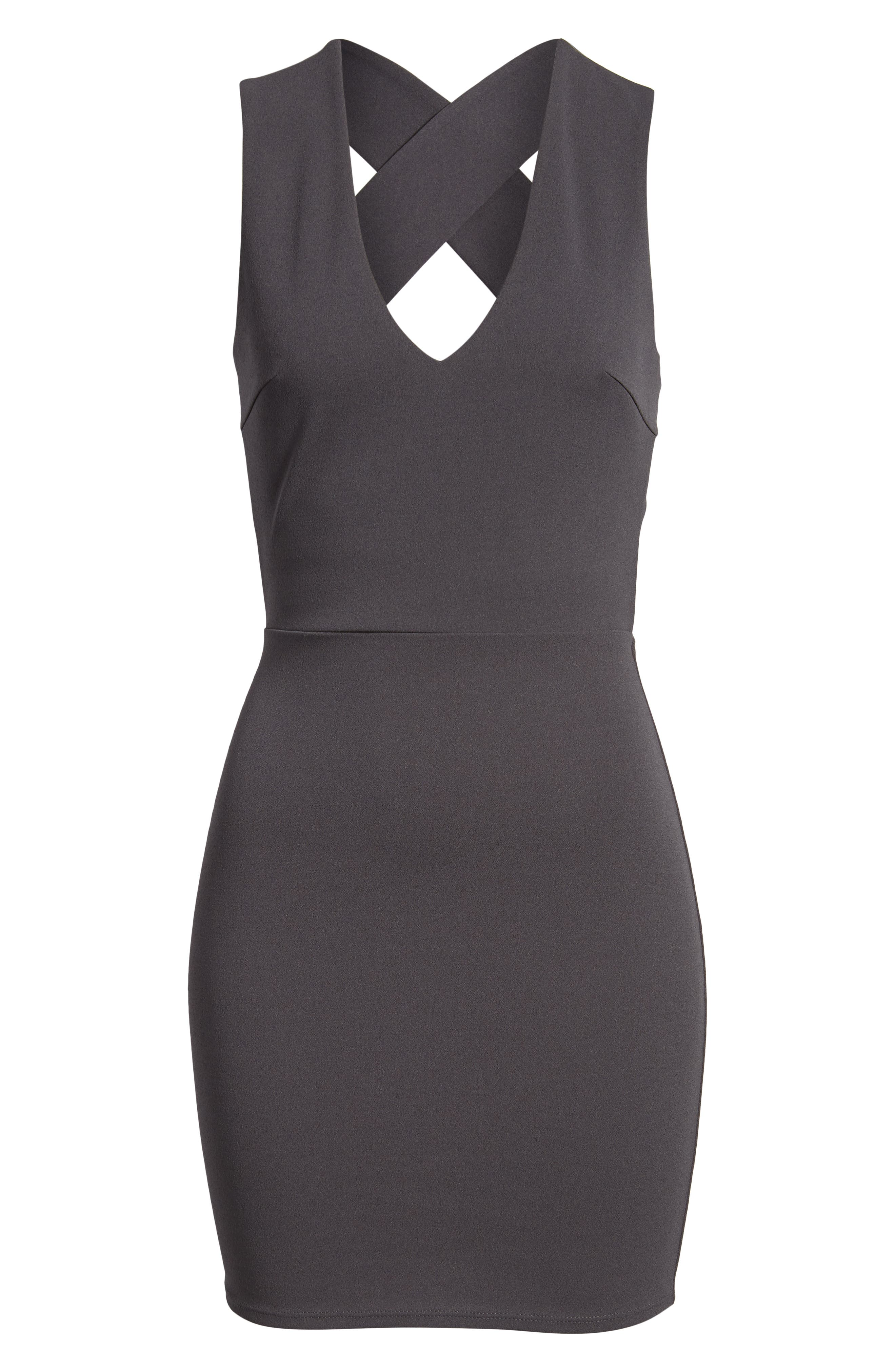 SOPRANO, Crossback Body-Con Dress, Alternate thumbnail 7, color, 020