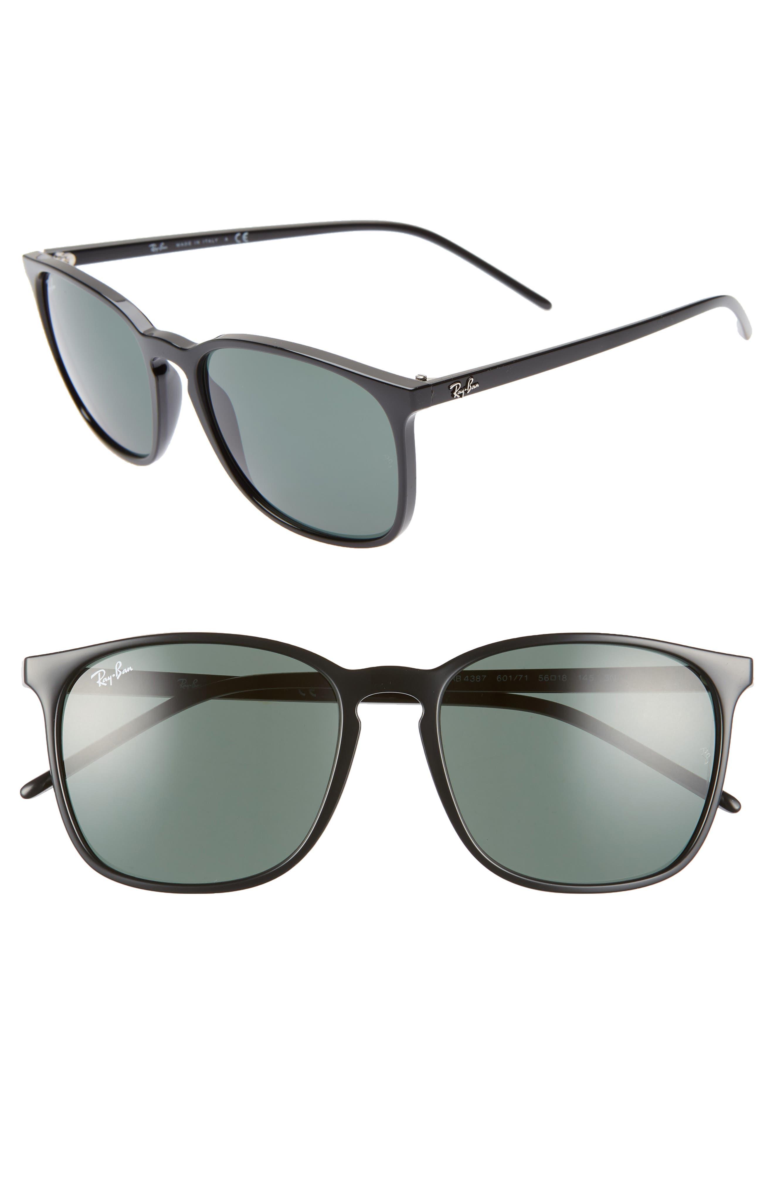 RAY-BAN, 56mm Sunglasses, Main thumbnail 1, color, BLACK/ GREEN SOLID